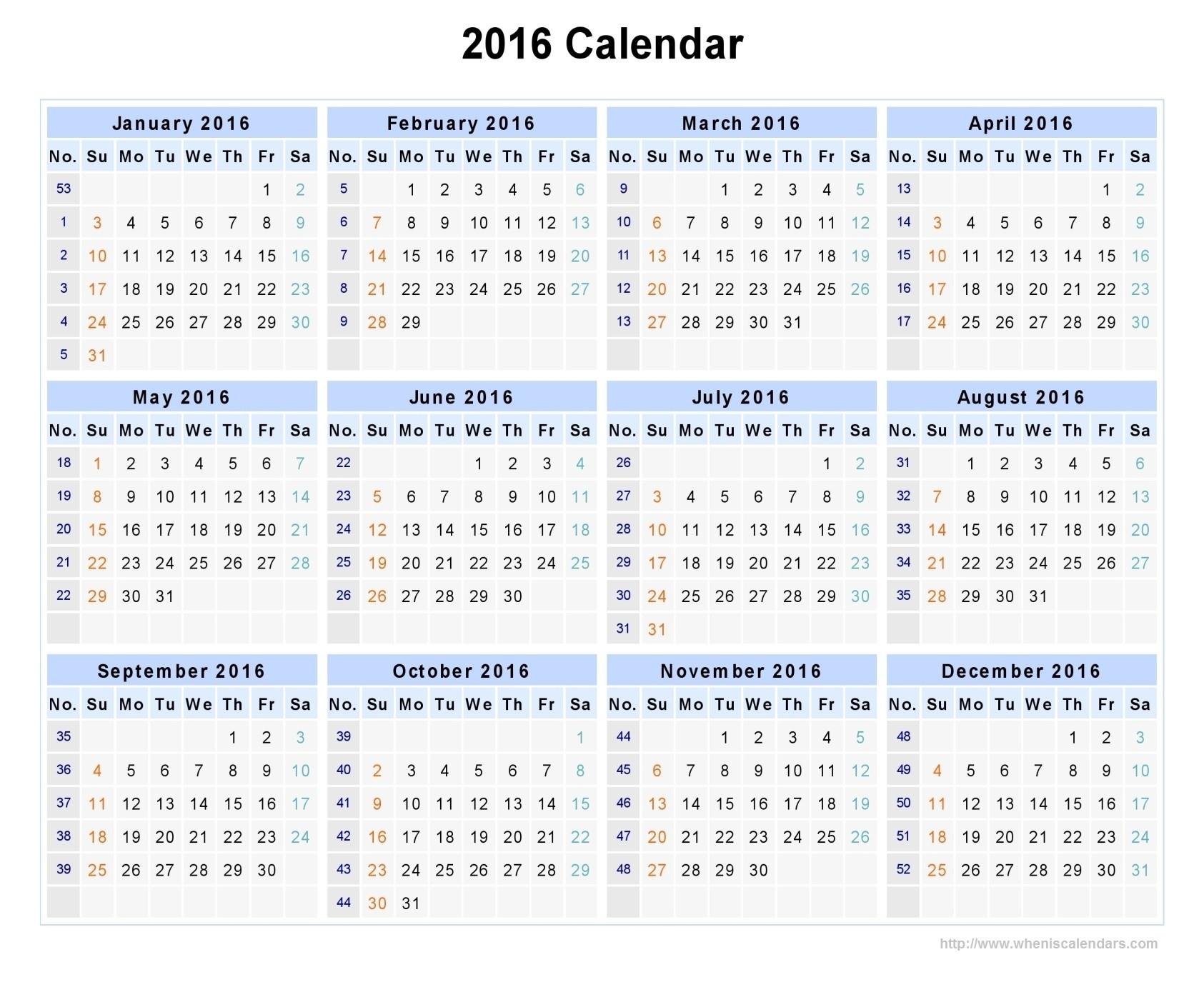 Week Number Calendar 2016 | Otohondalongan in Number Of Weeks In A Year Calendar