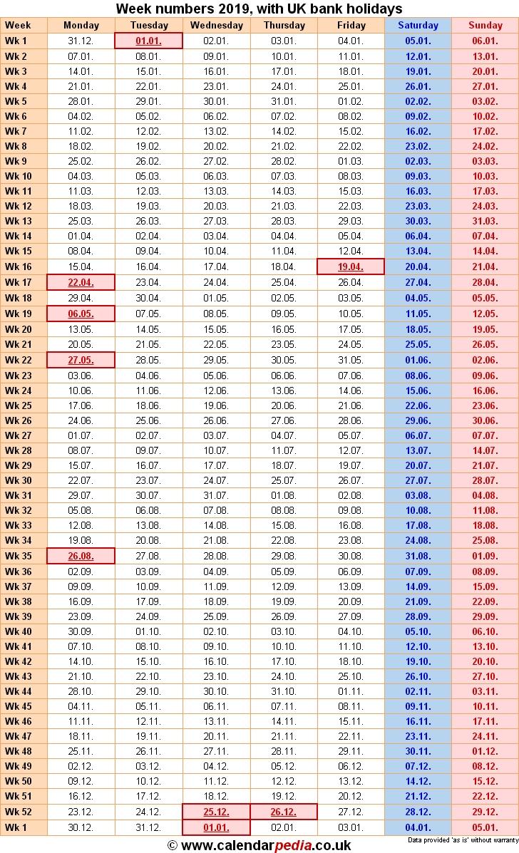 Week Numbers 2019, With Bank Holidays & Excel/pdf/word Templates within Network Rail Calendar Week Numbers