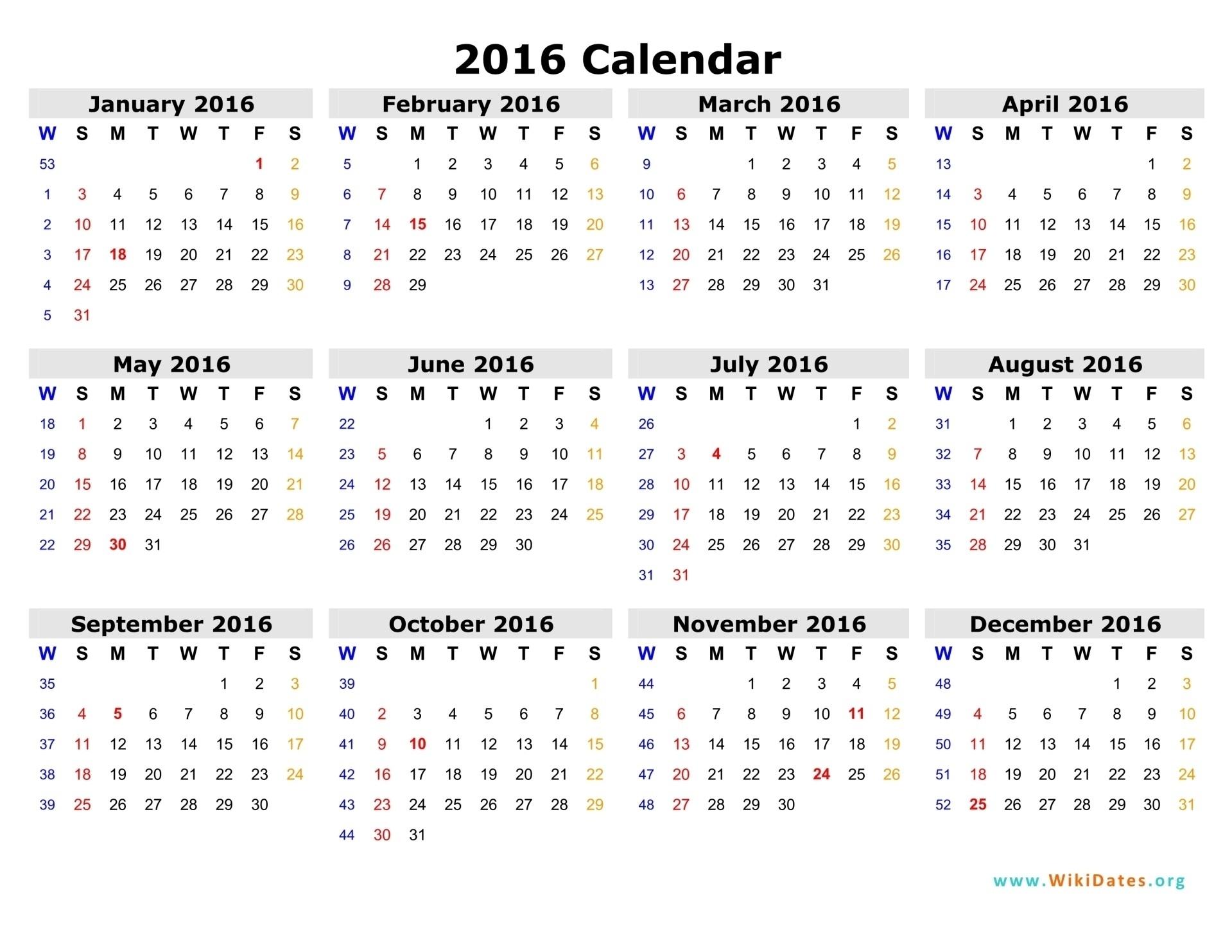 Week Numbers For 2016 | Thekpark-Hadong for Network Rail Calendar Week Numbers