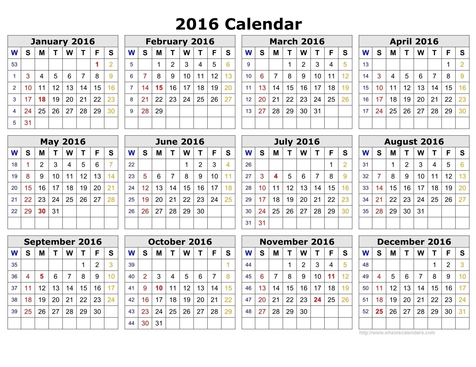 Week Numbers For 2016 | Thekpark-Hadong intended for Network Rail Calendar Week Numbers