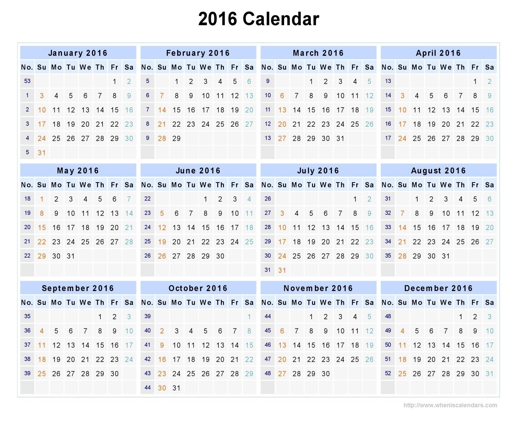 Week Numbers For 2016 | Thekpark-Hadong regarding Network Rail Calendar Week Numbers