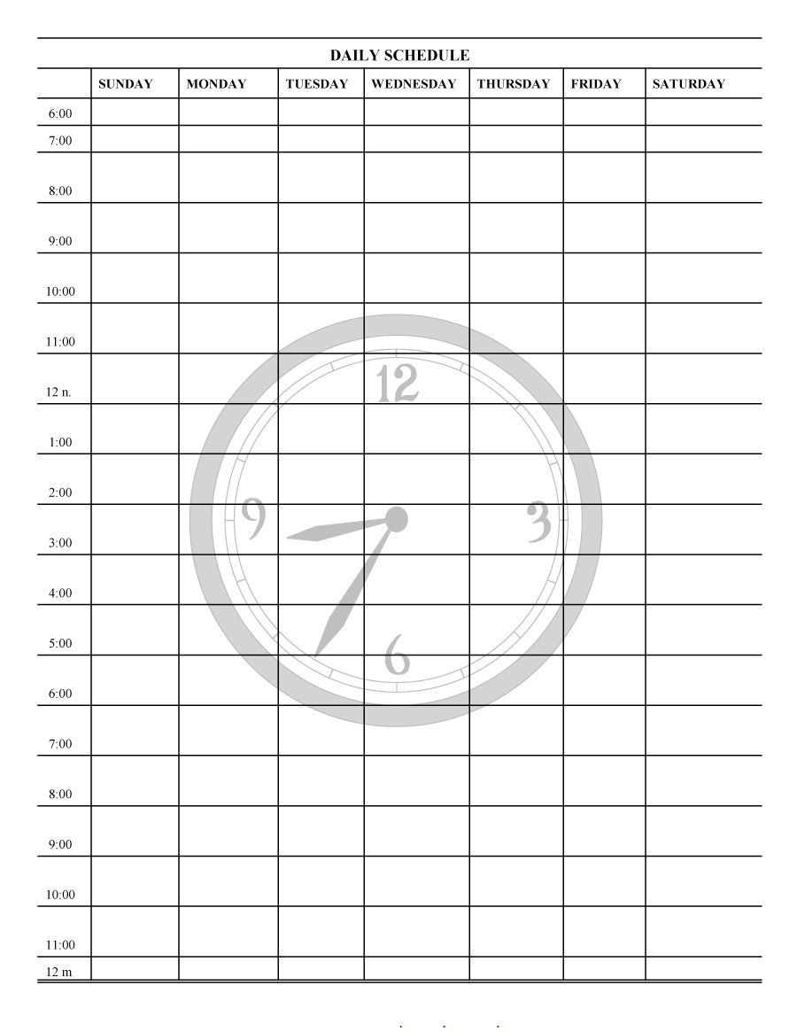 Week Schedule Template Printable Daily Planner Templates Free Lab pertaining to 30 Day Calendar With Circle With A Line Thru It