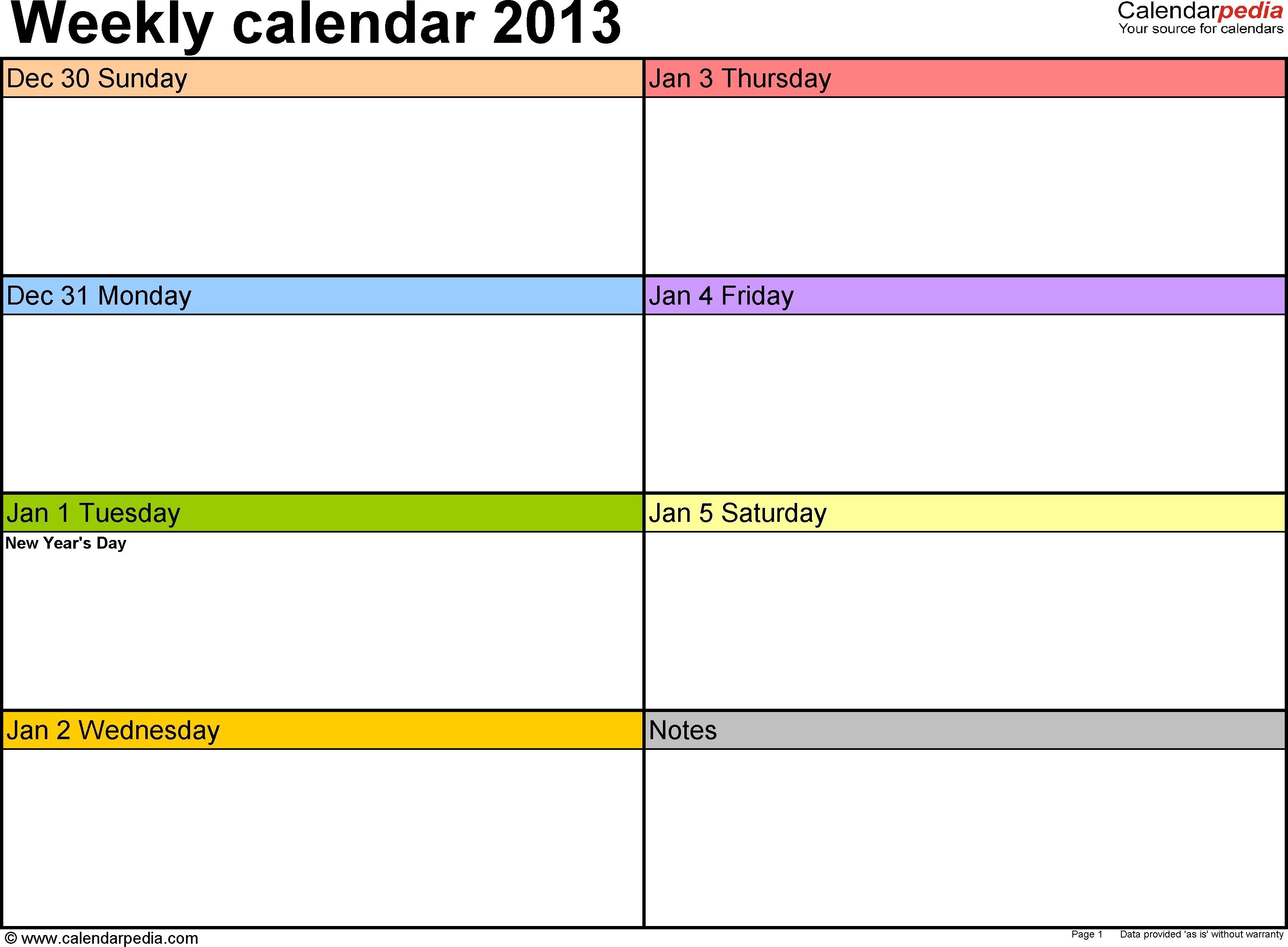Weekly Calendar 2013 For Word - 4 Free Printable Templates for Free Printable Weekly Planner Templates