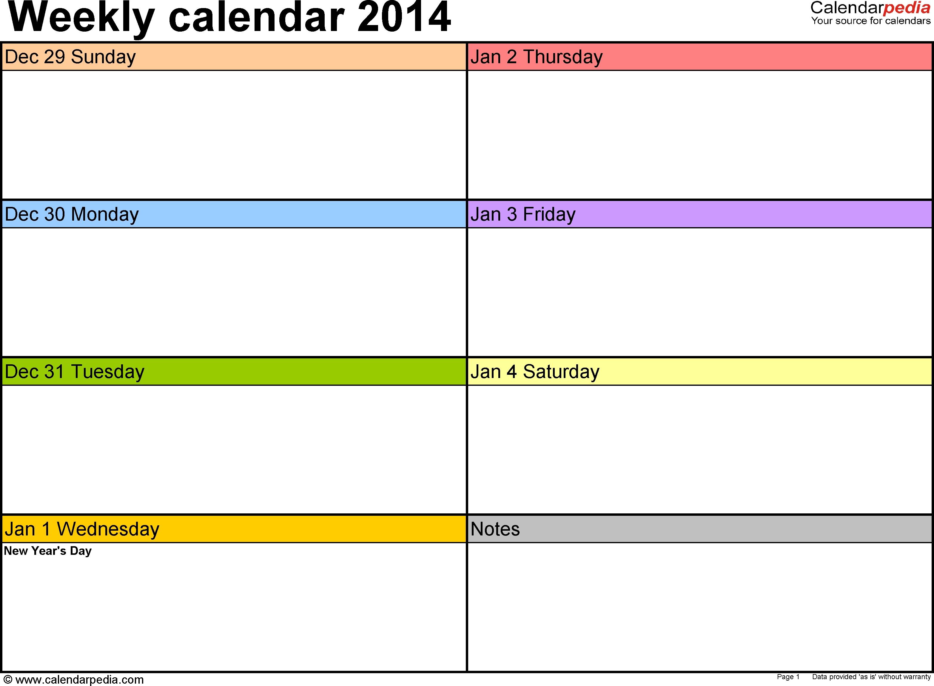 Weekly Calendar 2014 For Excel - 4 Free Printable Templates with regard to Week 2 Weekly Calendar Printable