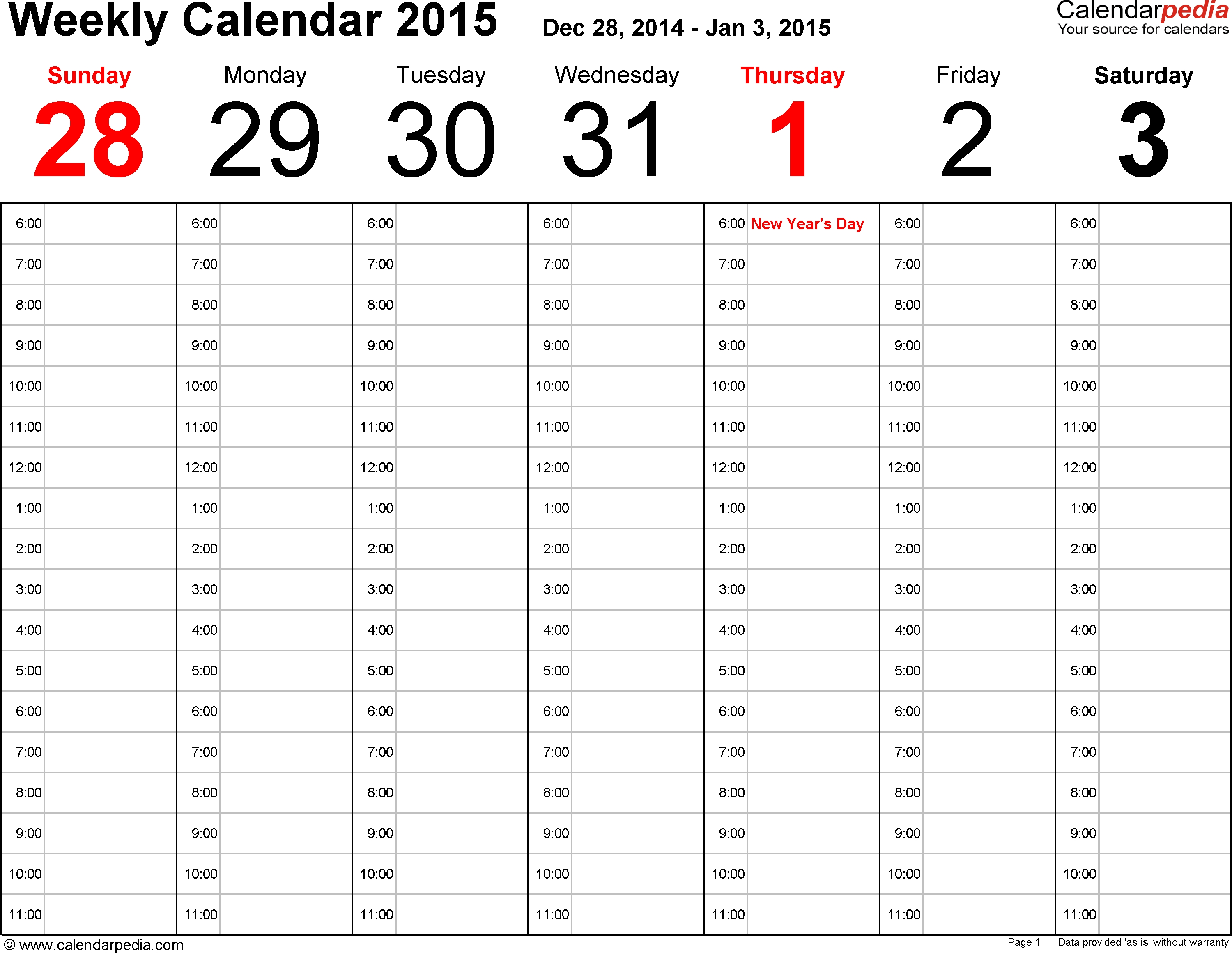 Weekly Calendar 2015 For Excel - 12 Free Printable Templates in Day And Time Calendar Template