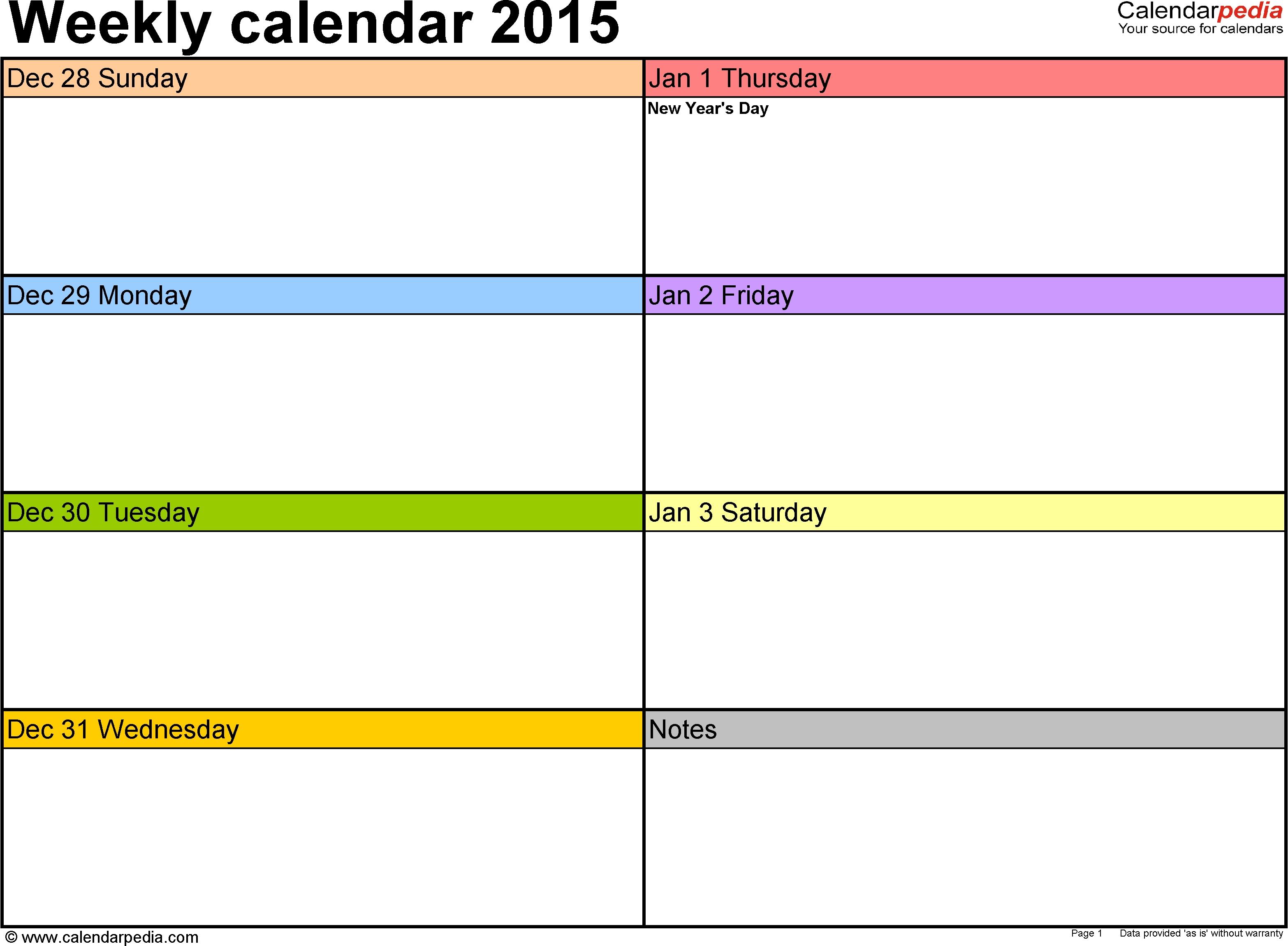 Weekly Calendar 2015 For Pdf - 12 Free Printable Templates regarding 5 Day Week Monthly Calendar Templates
