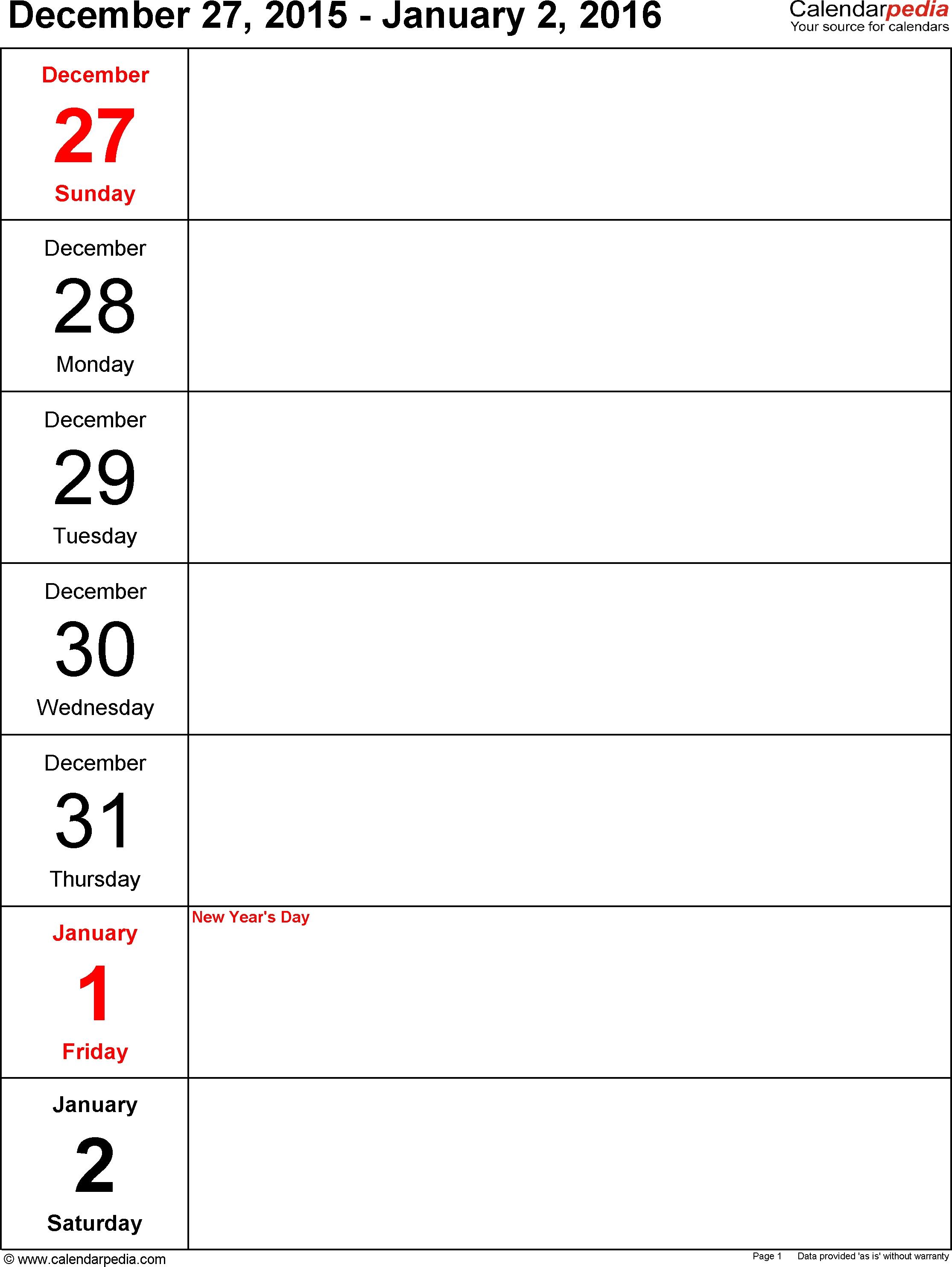 Weekly Calendar 2016 For Pdf - 12 Free Printable Templates regarding 1 Week Menu Calendar Template