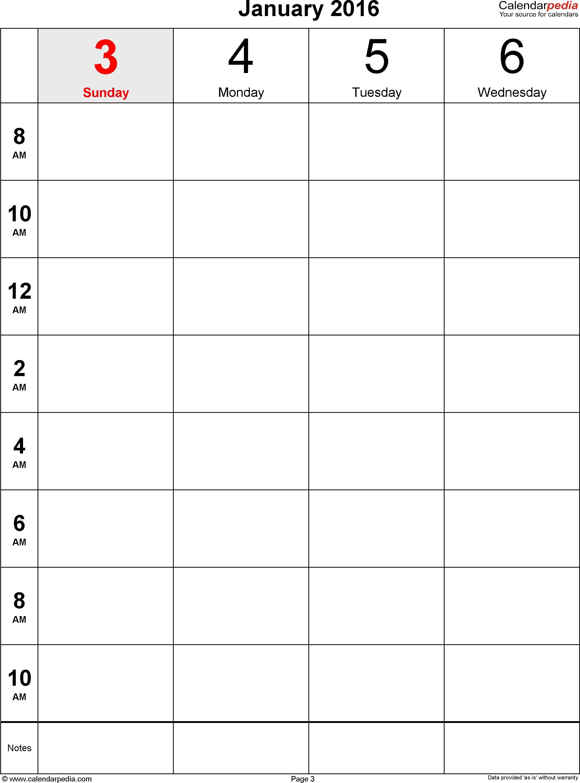 Weekly Calendar 2016 For Word - 12 Free Printable Templates in One Week Daily Calendar Printable
