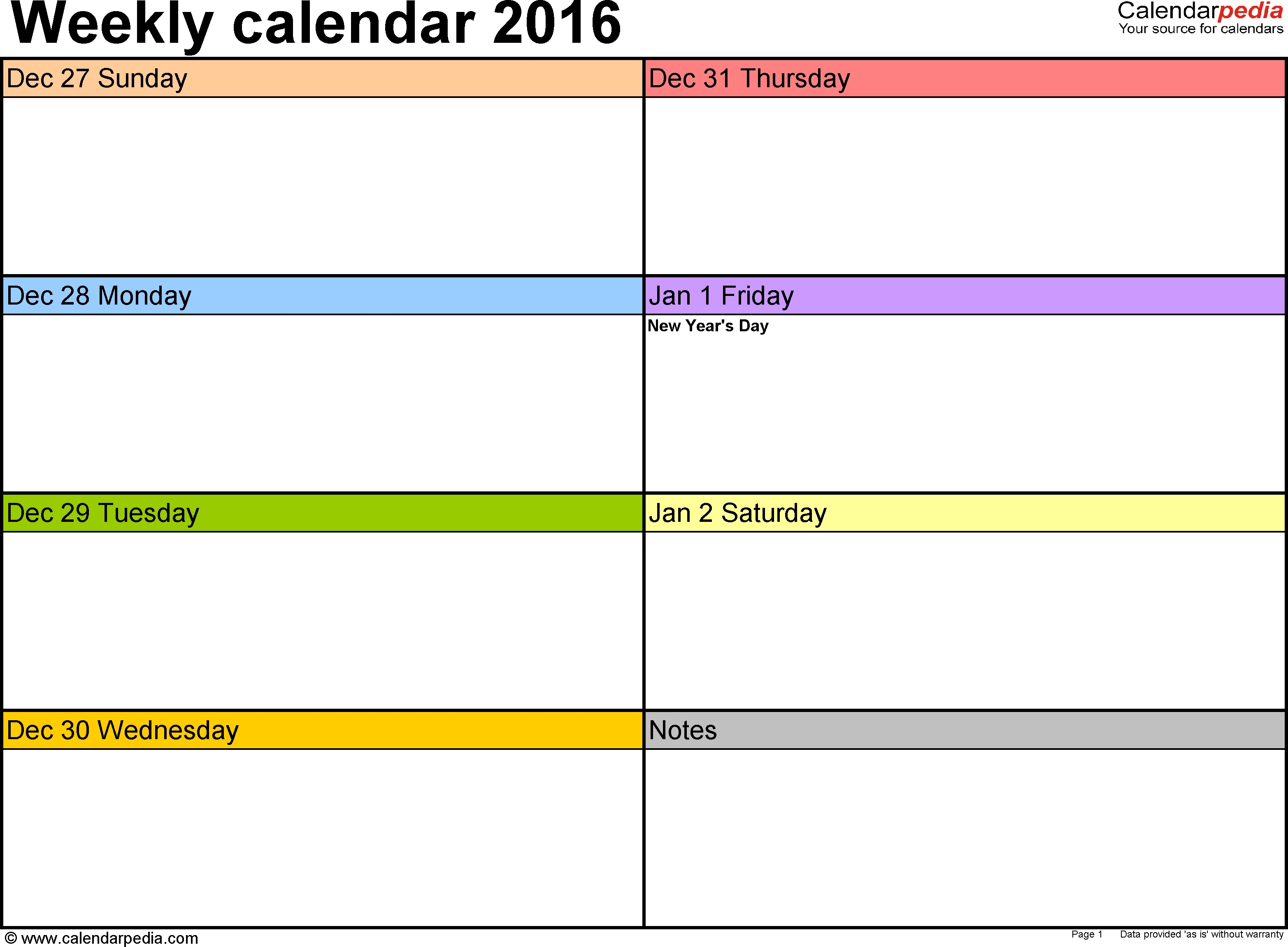 Weekly Calendar 2016 For Word - 12 Free Printable Templates with 7-Day Week Blank Calendar Template