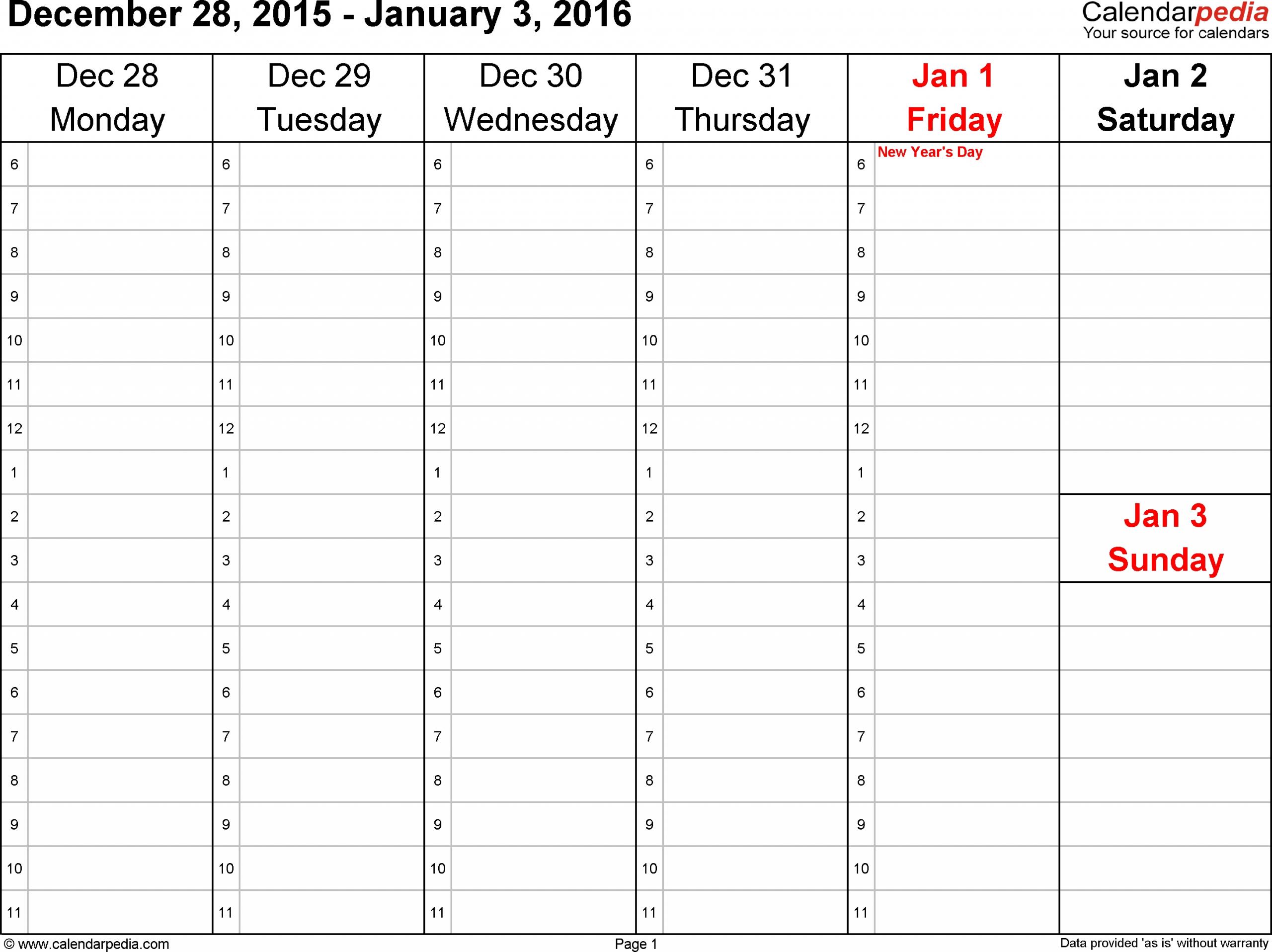 Weekly Calendar 2016 For Word - 12 Free Printable Templates with regard to Printable Weekly Calendar Monday Start