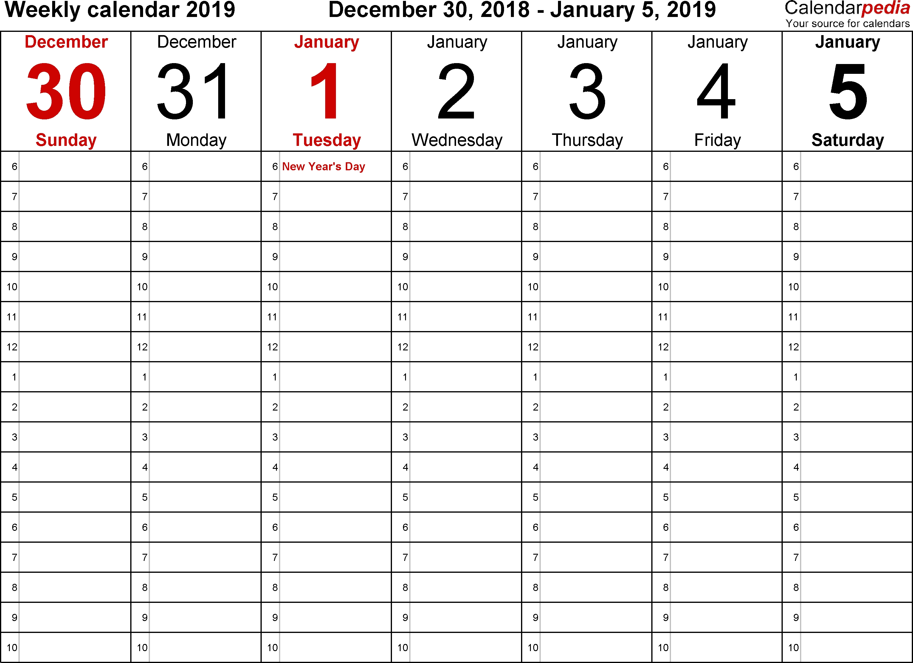 Weekly Calendar 2019 For Word - 12 Free Printable Templates for 1 Week Vacation Calendar Printable