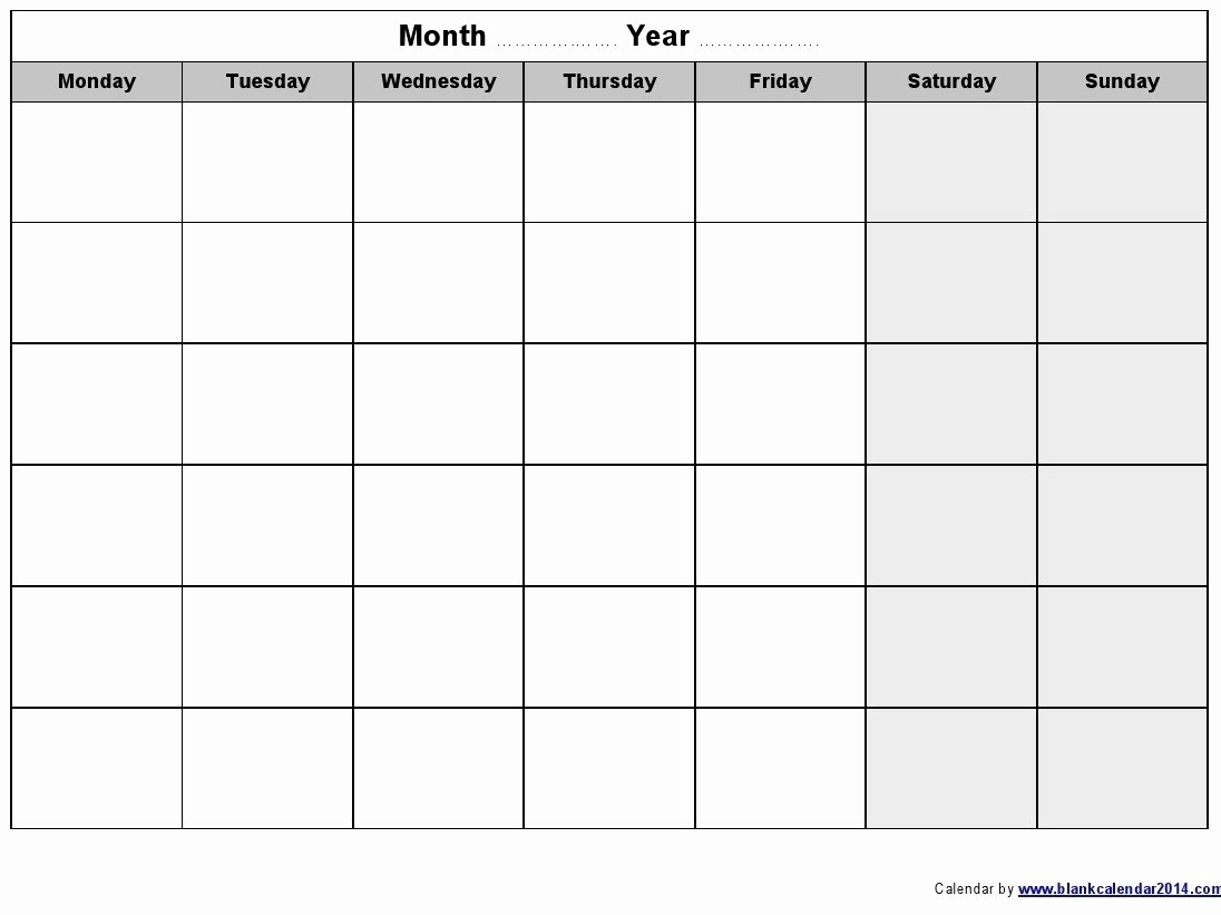 Weekly Calendar Monday Through Friday Luxury Blank Monthly Calendar with Weekly Calendar Template Monday Thru Friday