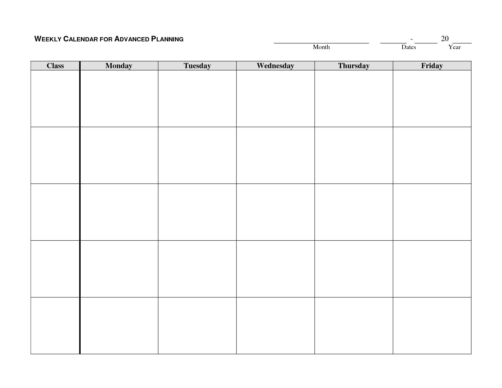 Weekly Calendar Template - Google Search | Autism/school | Weekly for Monday - Friday Planner Template