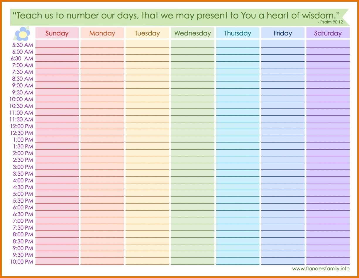 Weekly Calendar With Hours Printable Weekly Calendar With Hours regarding Printable Weekly Schedule With Hours Monday To Friday