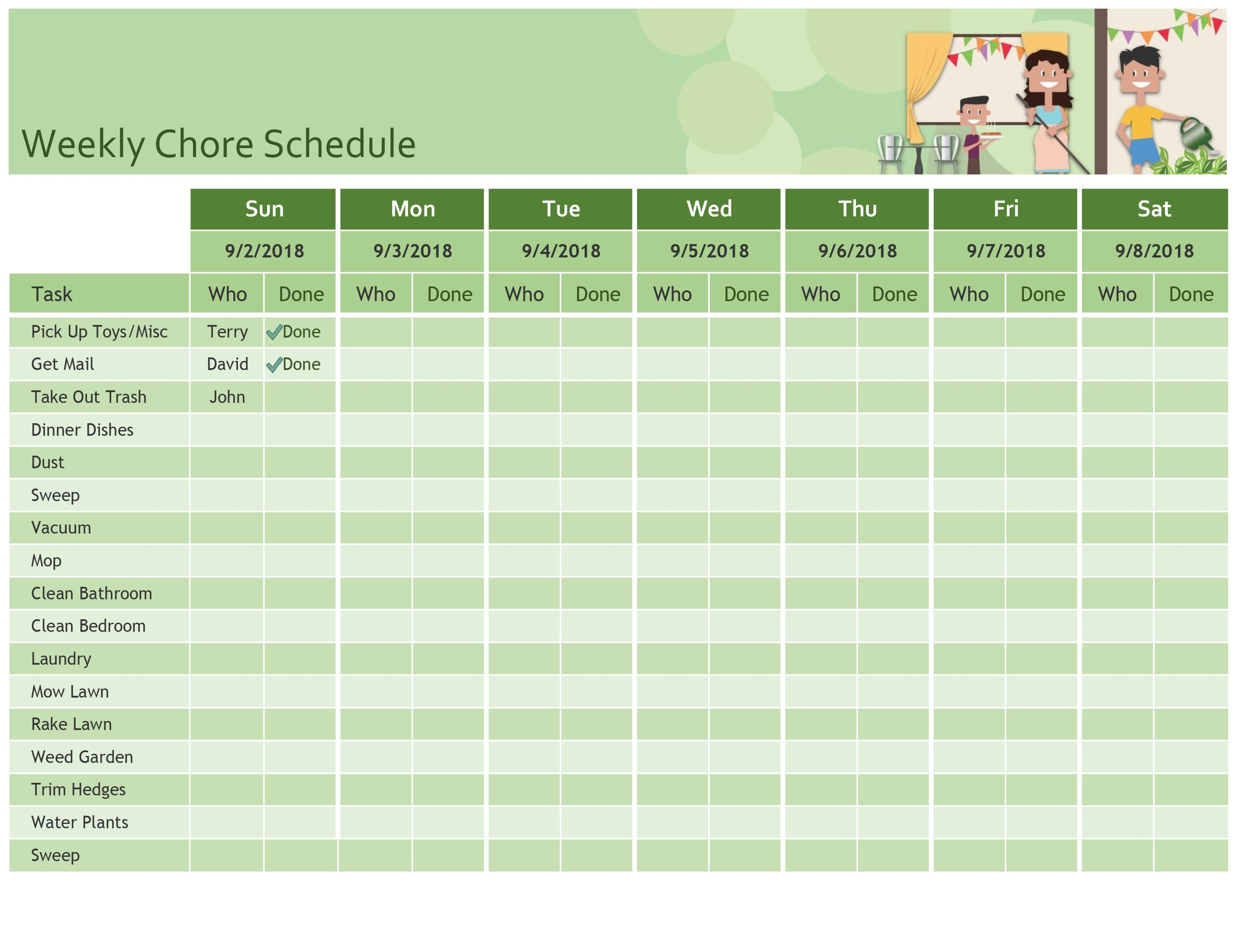 Weekly Chore Schedule regarding Week By Week Mowing Calendar Templates