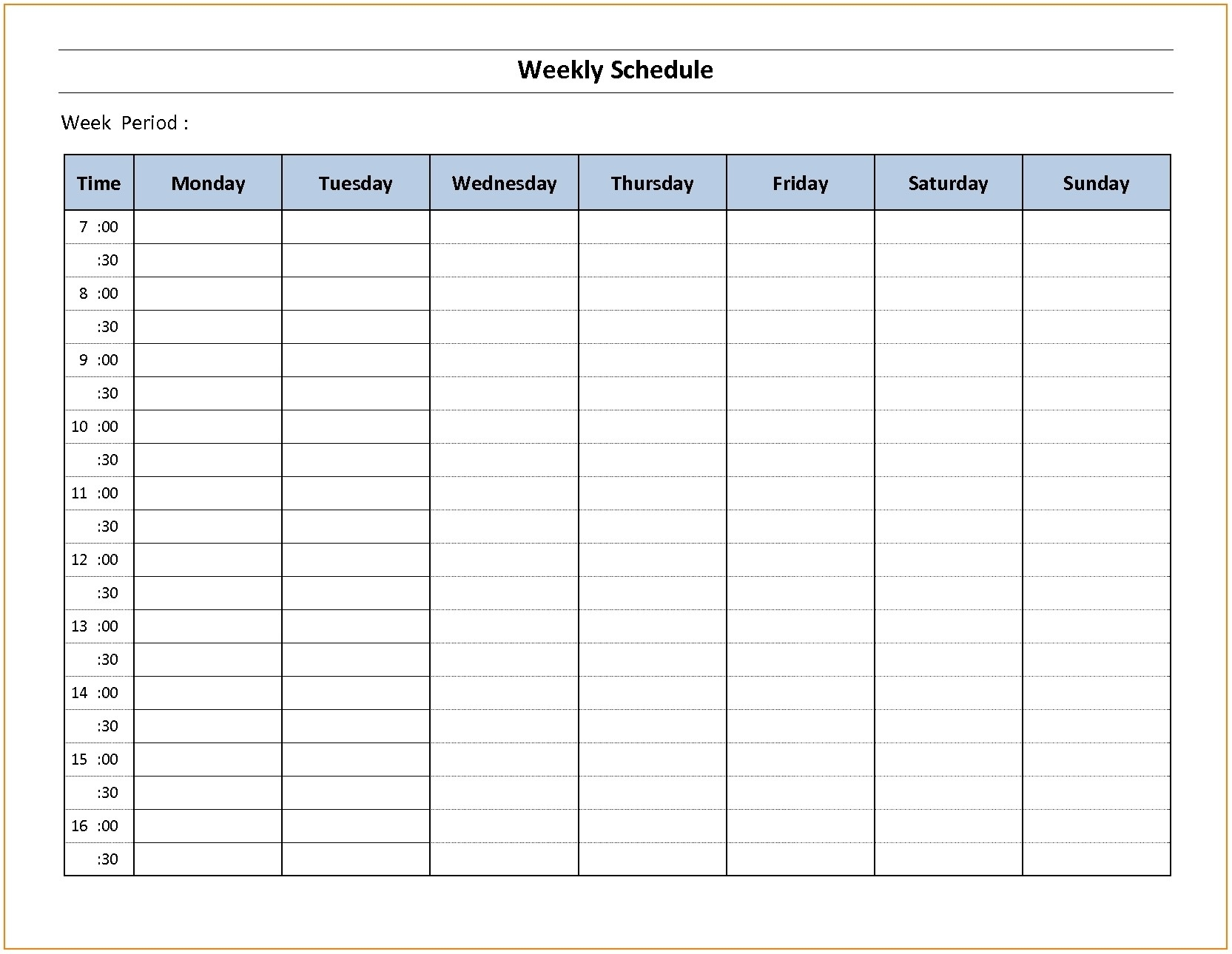 Weekly Employee Schedule Template Monday Sunday – Template Calendar with regard to Weekly Schedule Monday - Sunday