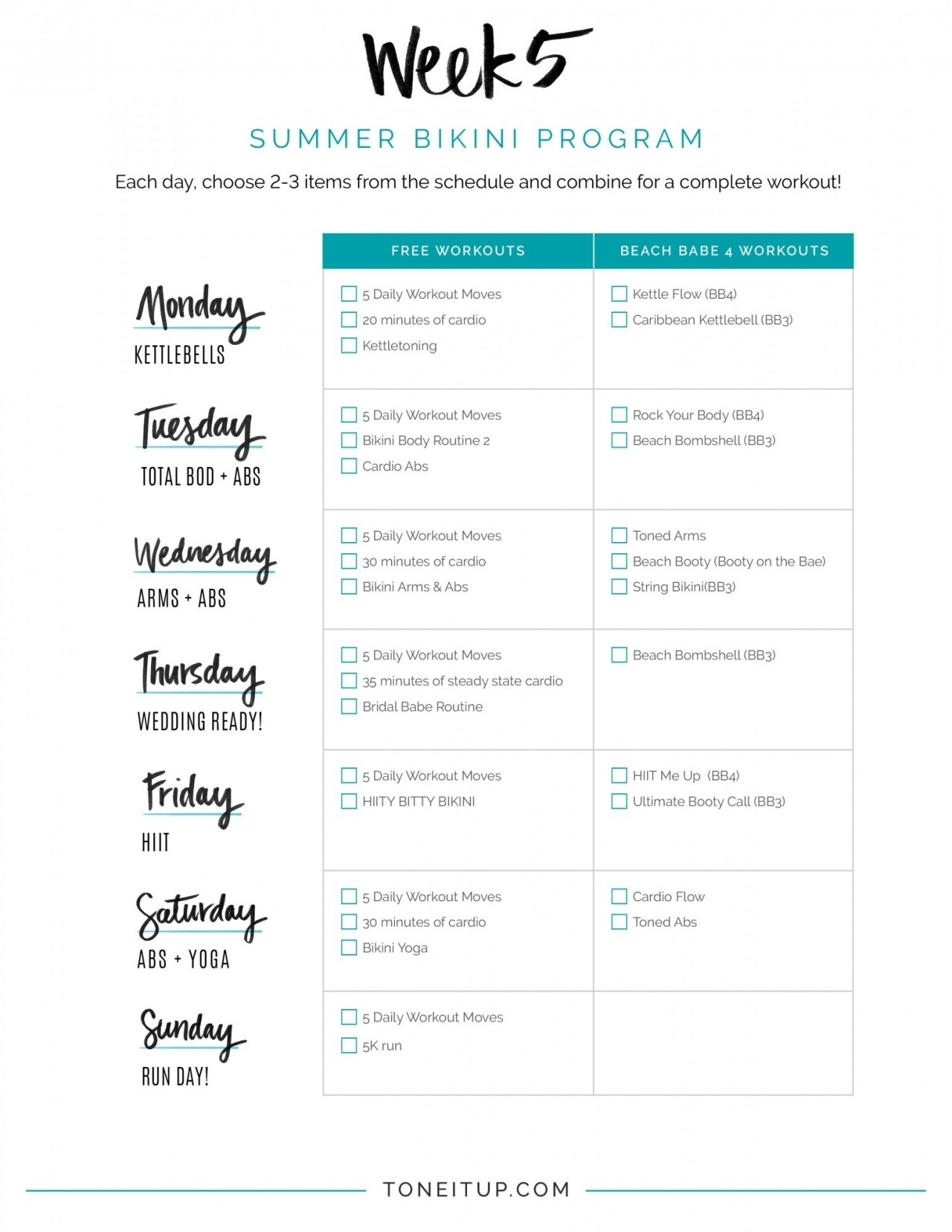 Weekly Fitness Schedule! - Toneitup within Printable Fill In Lifting Scedual