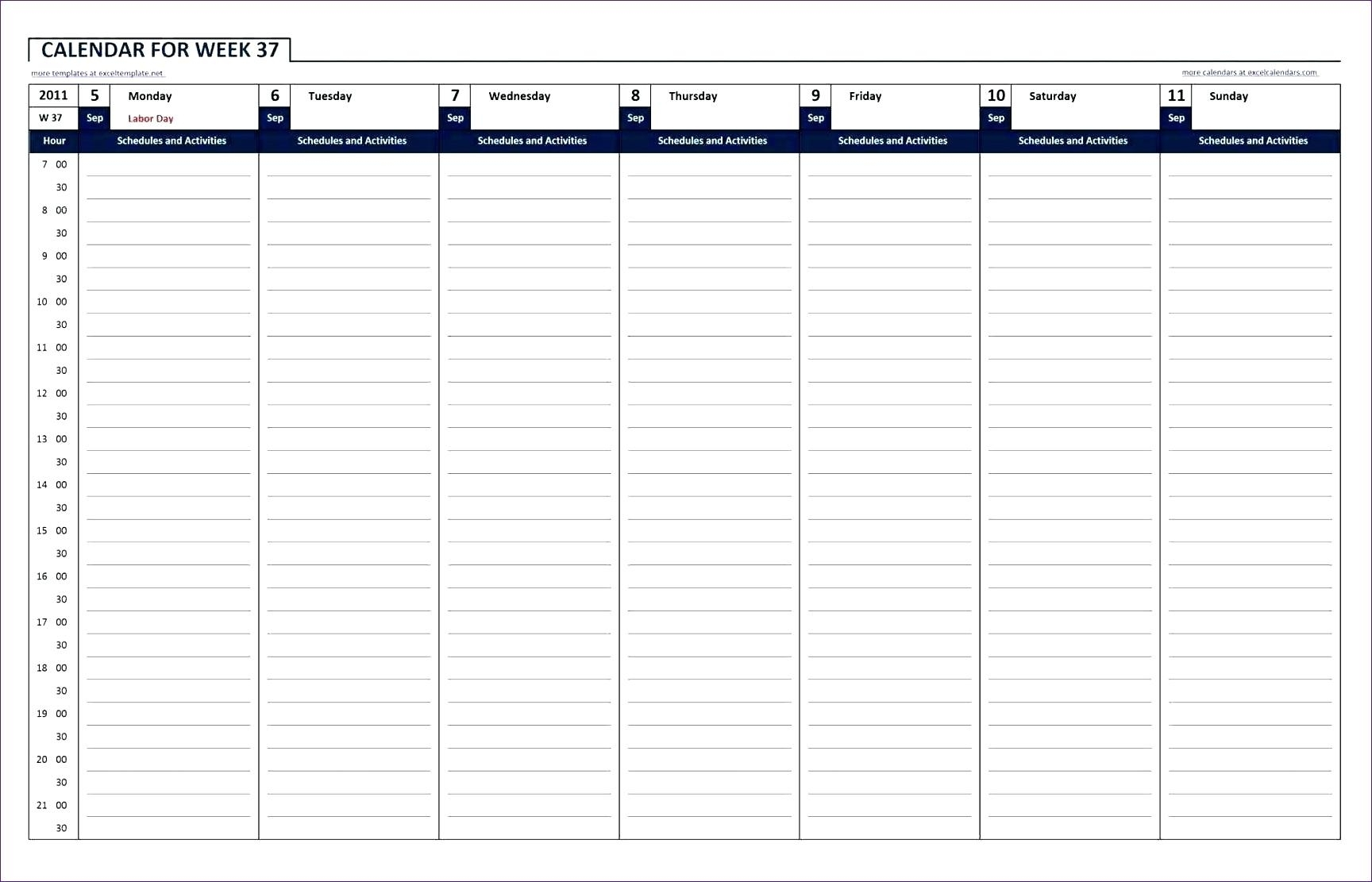 Weekly Hourly Le Template Hour Printable Calendar For Excel Free for Hour By Hour Blank Calendars