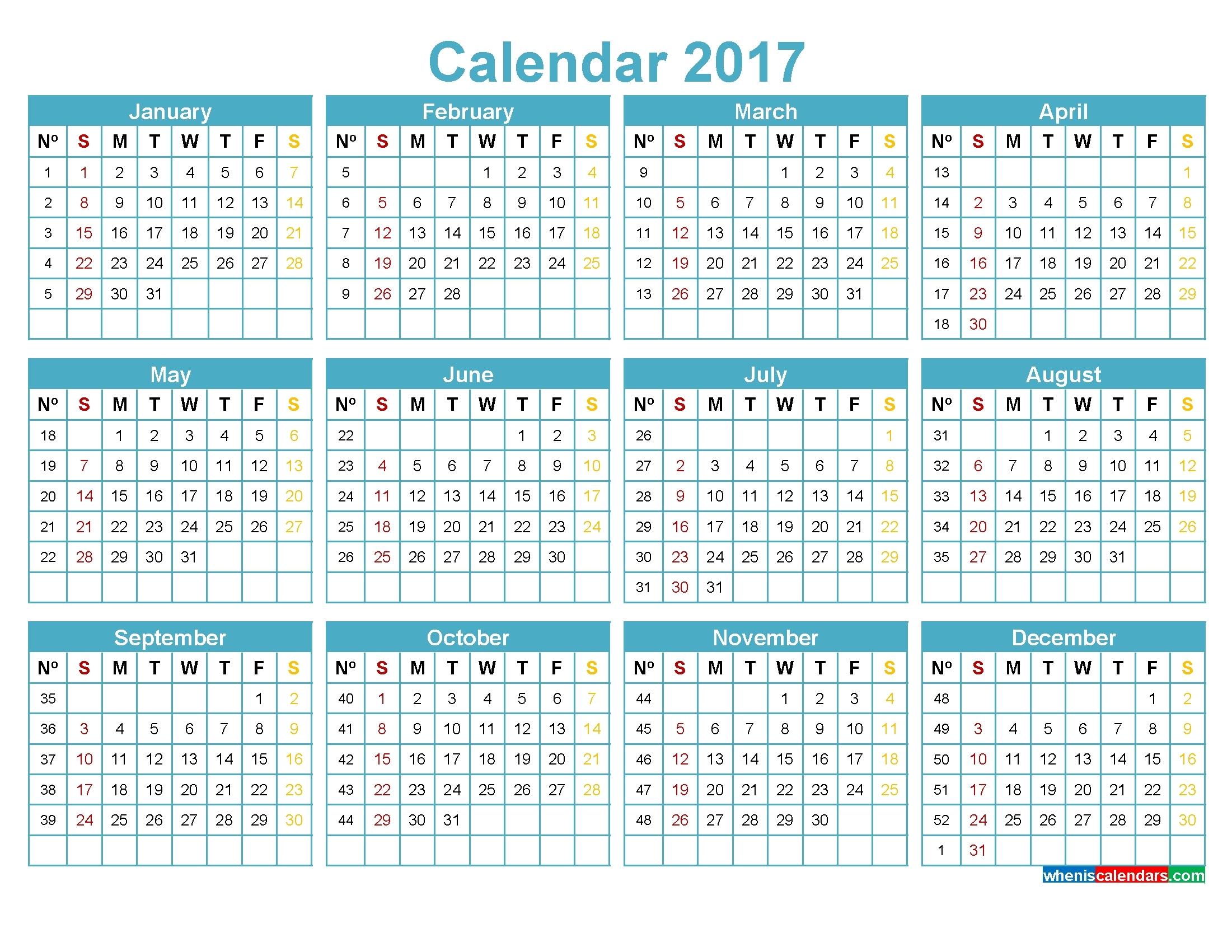 Weekly Number Calendar 2017 | Printable 2017 Calendars in Week Of The Year Number Calendar