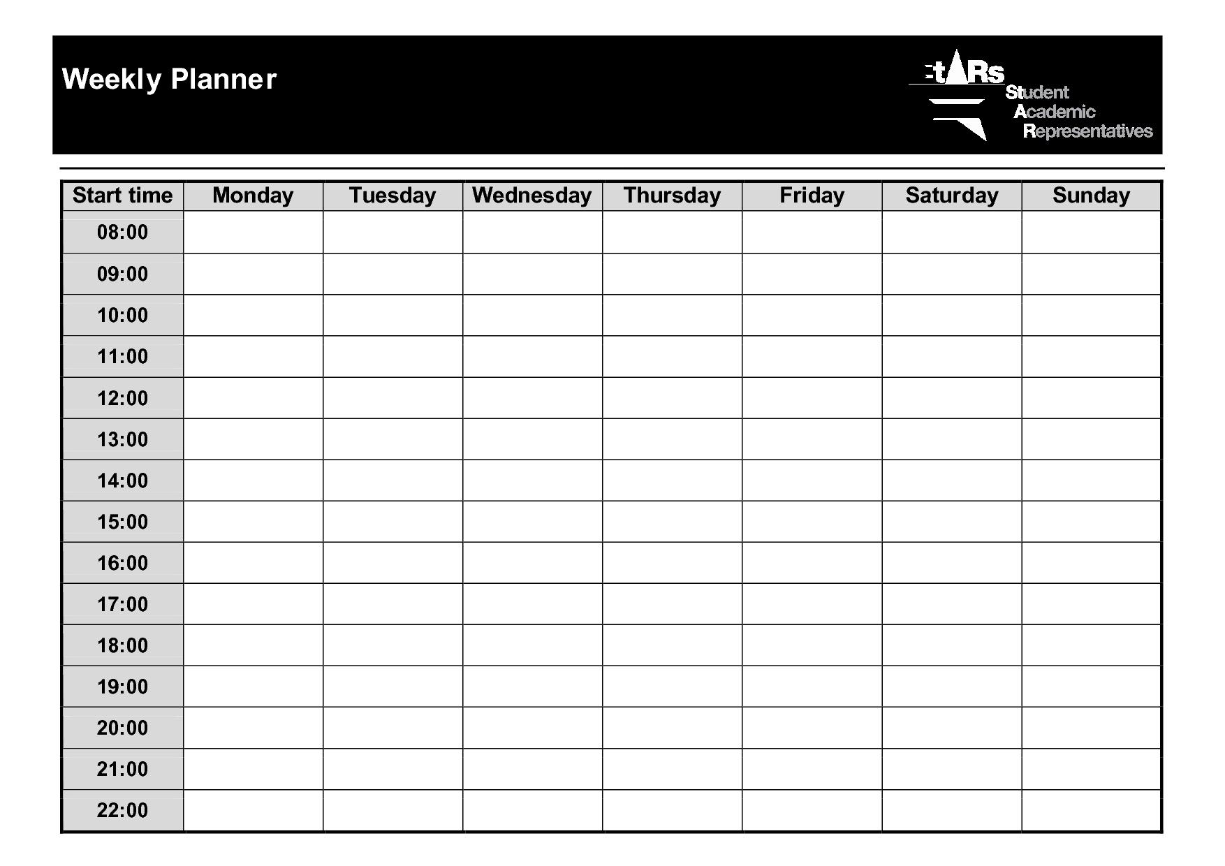 Weekly Planner Template Pdf   Printable Planner Template in Free Printable Weekly Calendars Pdf