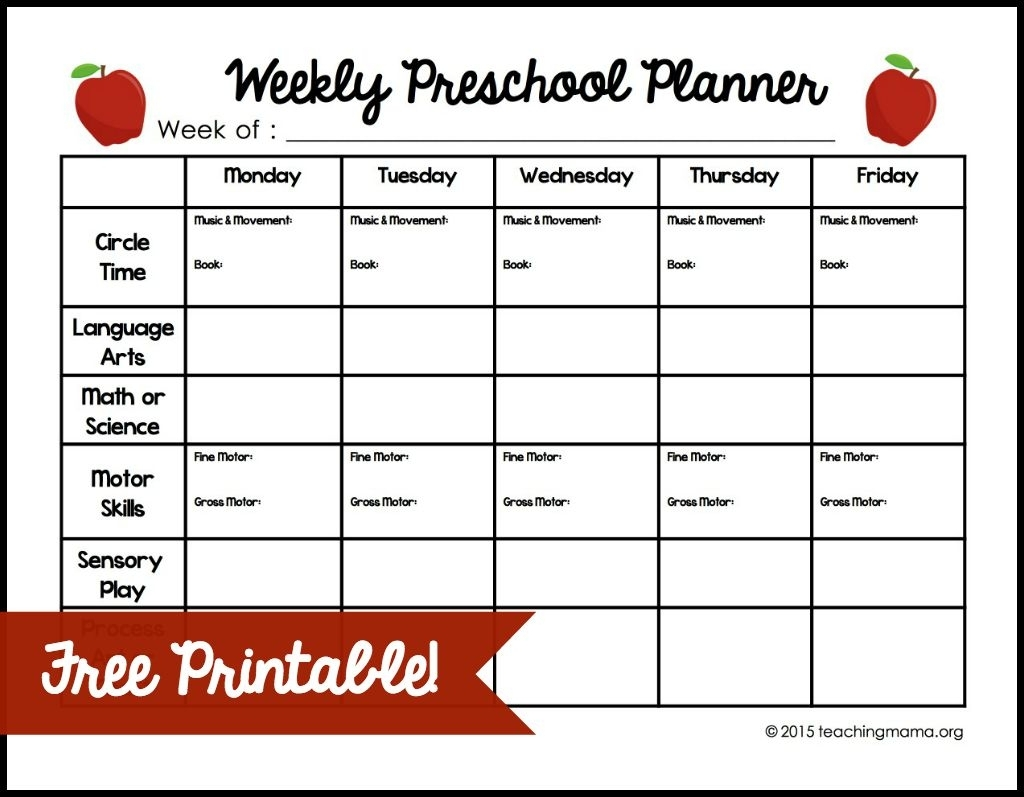 Weekly Preschool Planner with Monday Through Friday Activity Schedule