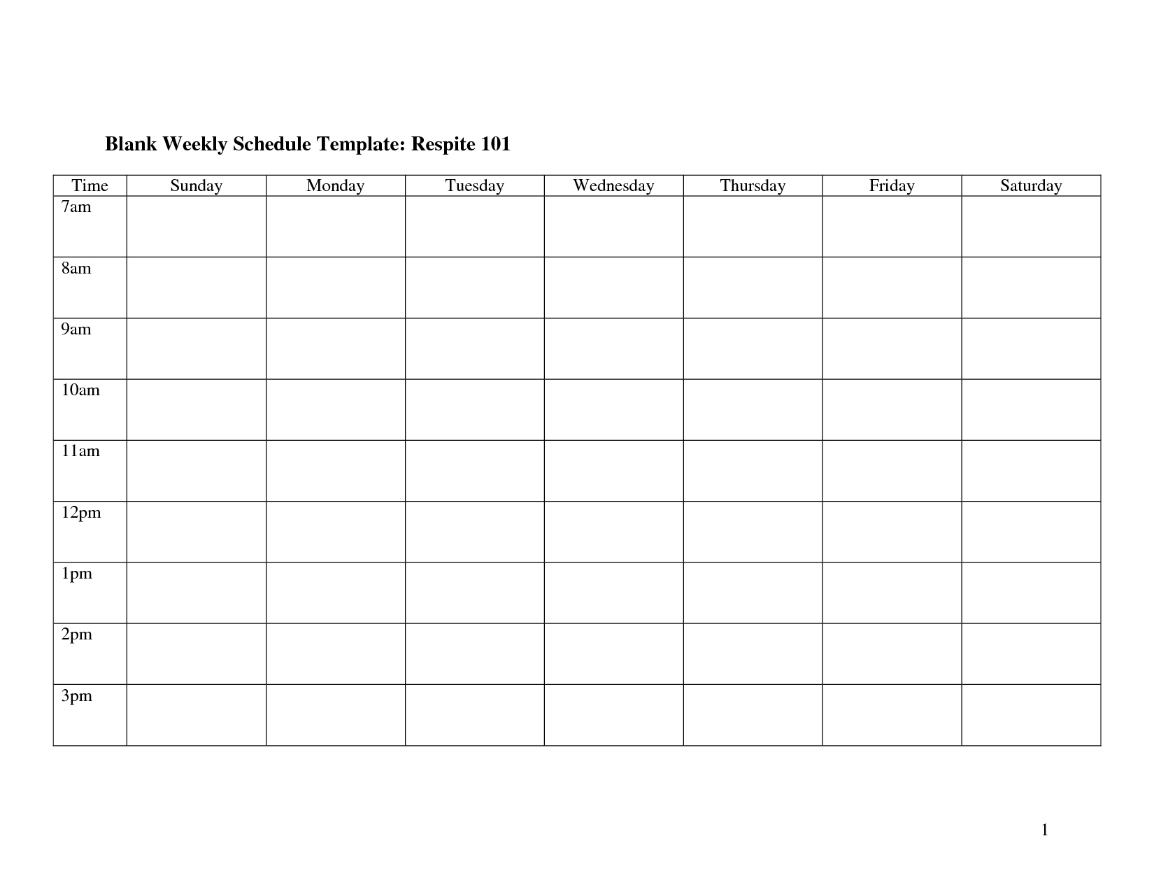 Weekly Schedule Monday Through Friday | Template Calendar Printable for Monday Through Friday Blank Schedule Print Out