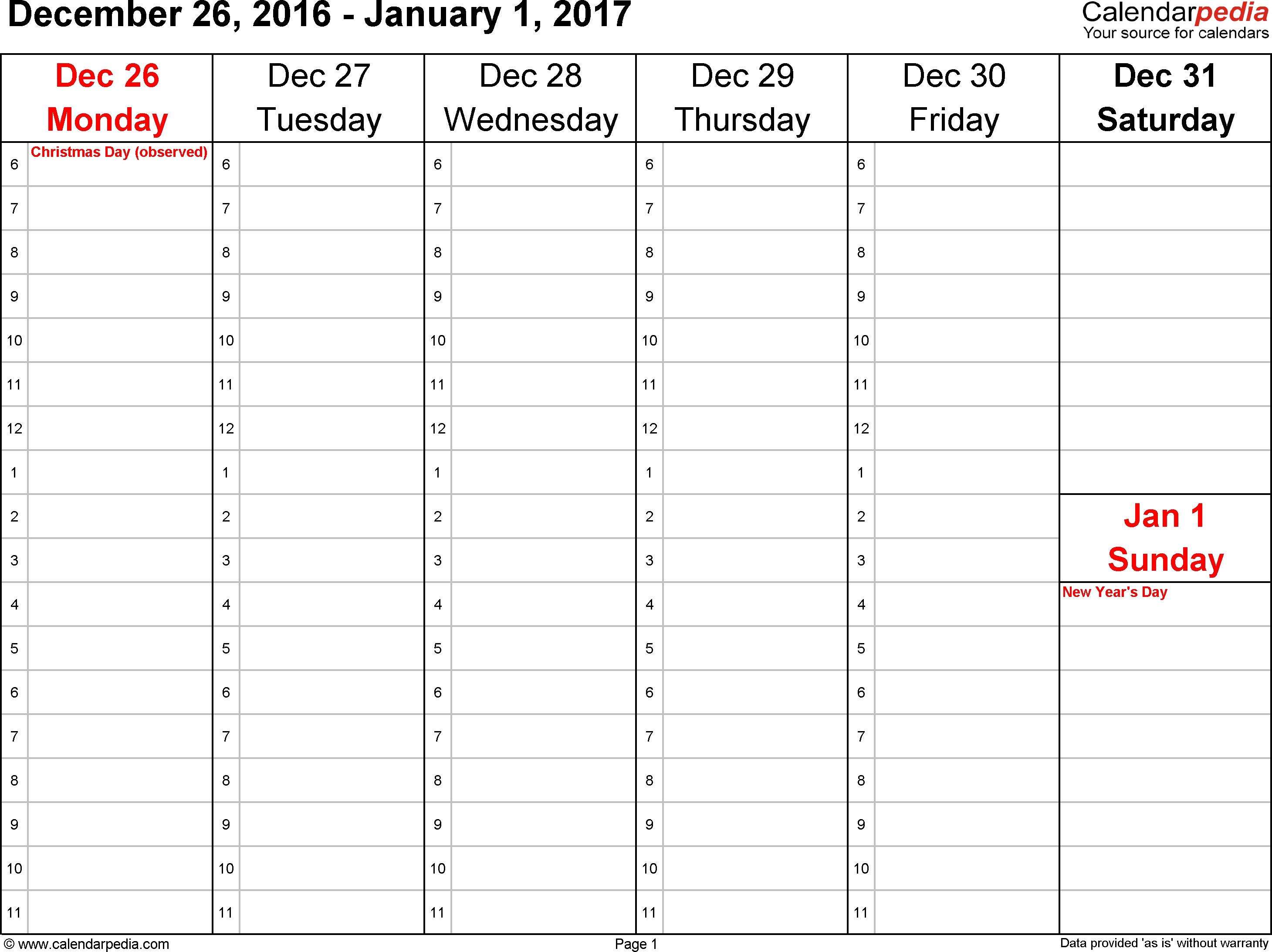 Weekly Schedule Printable Pdf Template Free Calendar Week Word One throughout Calendar Weeks Printable No Datwes