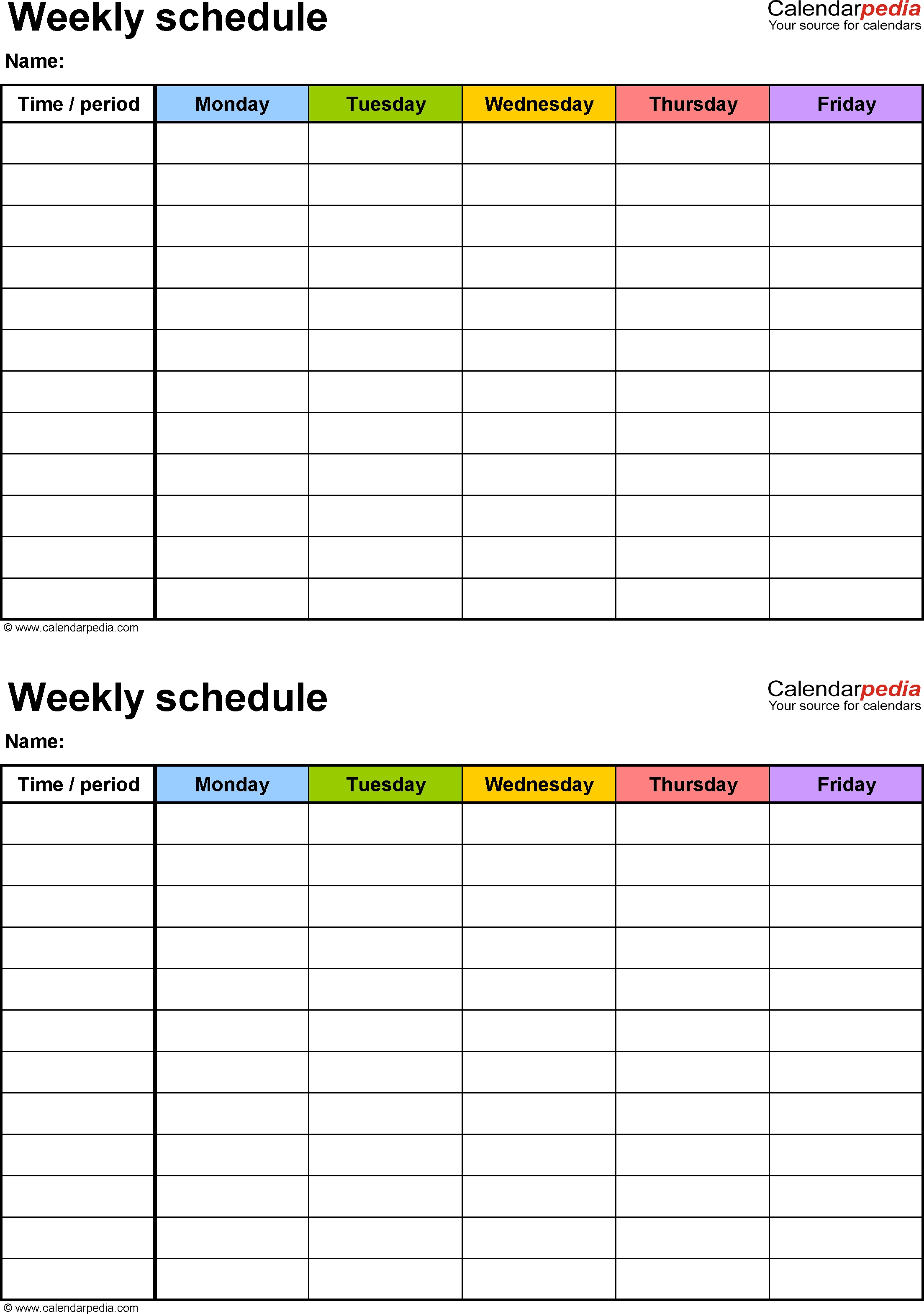 Weekly Schedule Template For Excel Version 3: 2 Schedules On One with Monday Though Friday Timed Schedule