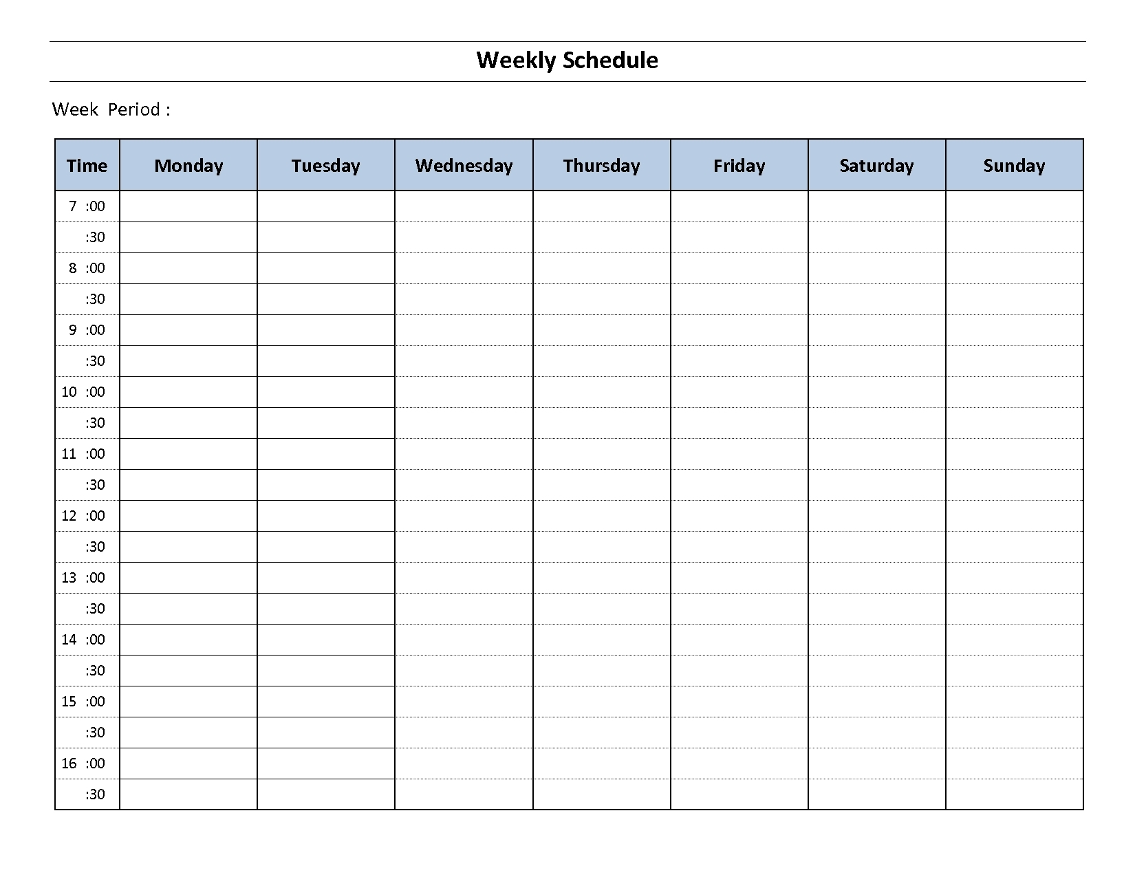 Weekly Schedule Template Sunday Thru Saturday Employee Ay To Friday for Monday - Sunday Weekly Schedule