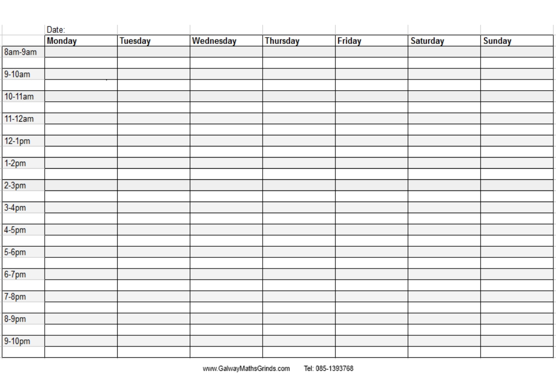 Weekly Time Table Chart throughout Blank Weekly Schedule With Times