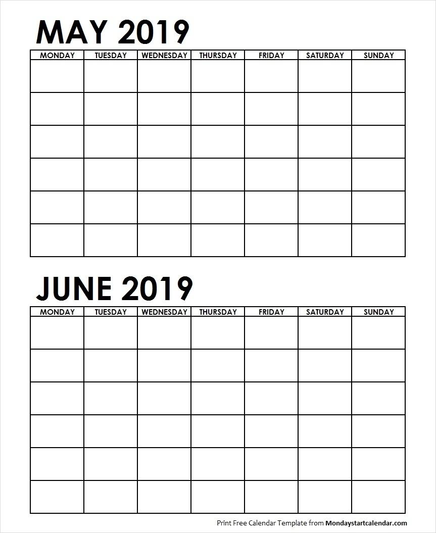 Well Done 2 Month May June 2019 Calender Printable * Calendar regarding 2 Month Calendar Template June July