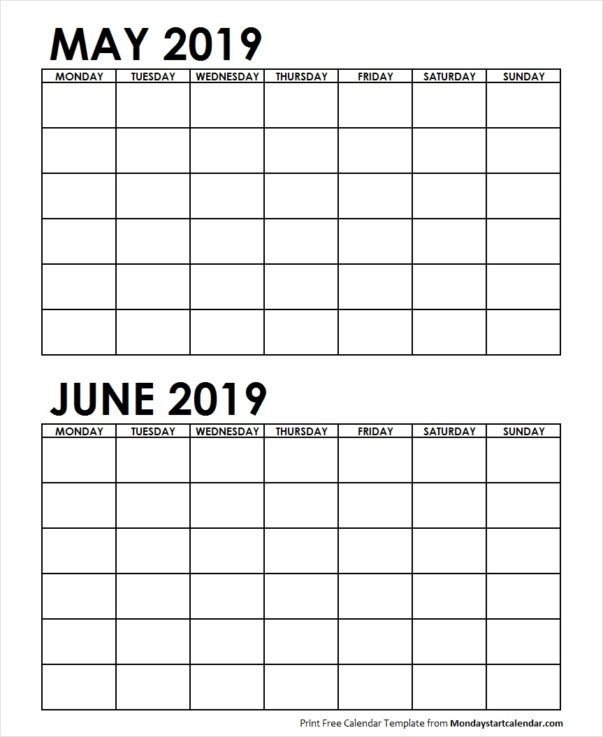 Well Done 2 Month May June 2019 Calender Printable * Calendar throughout 2 Month Calendar Template Printable