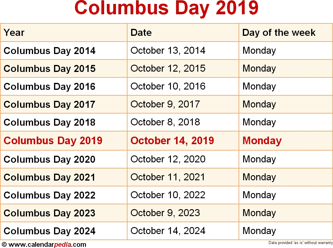 When Is Columbus Day 2019 & 2020? Dates Of Columbus Day pertaining to What Day Is It Calendar