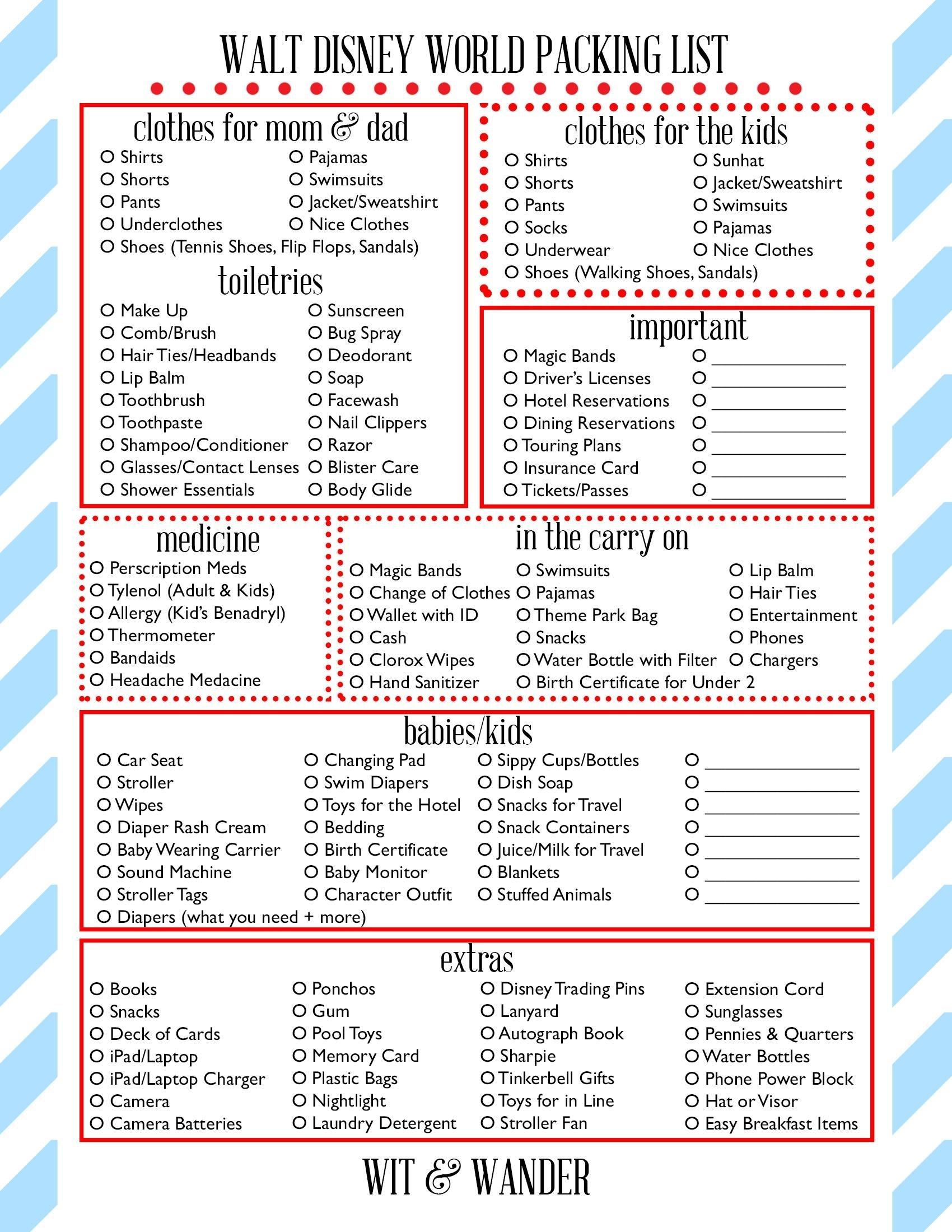 Wit And Wander Walt Disney World Printable Packing Sheet. This for Disney World Printable Planning Sheets