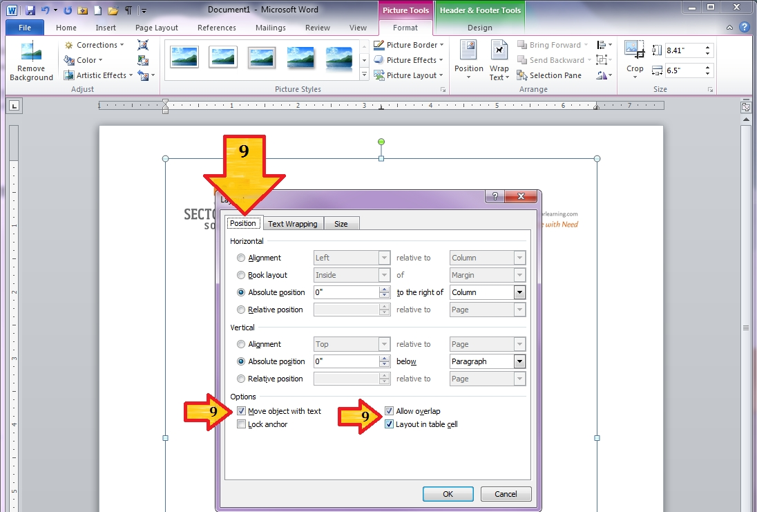 """Word 2010 – Custom Margins And """"Locking"""" Letterhead Graphics inside How To Overlap Pictures Microsoft Word 2013"""