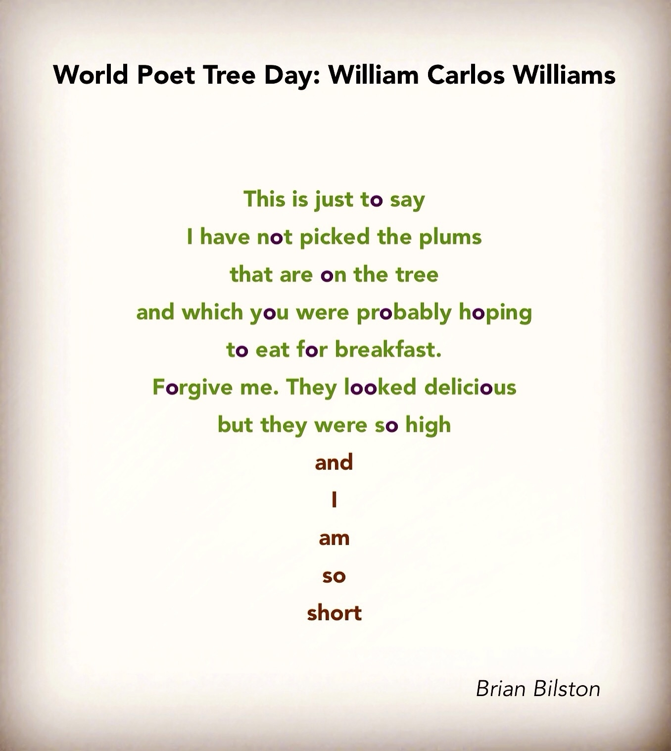 World Poet Tree Day: William Carlos Williams   Brian Bilston's within Short Poem O Calender Images