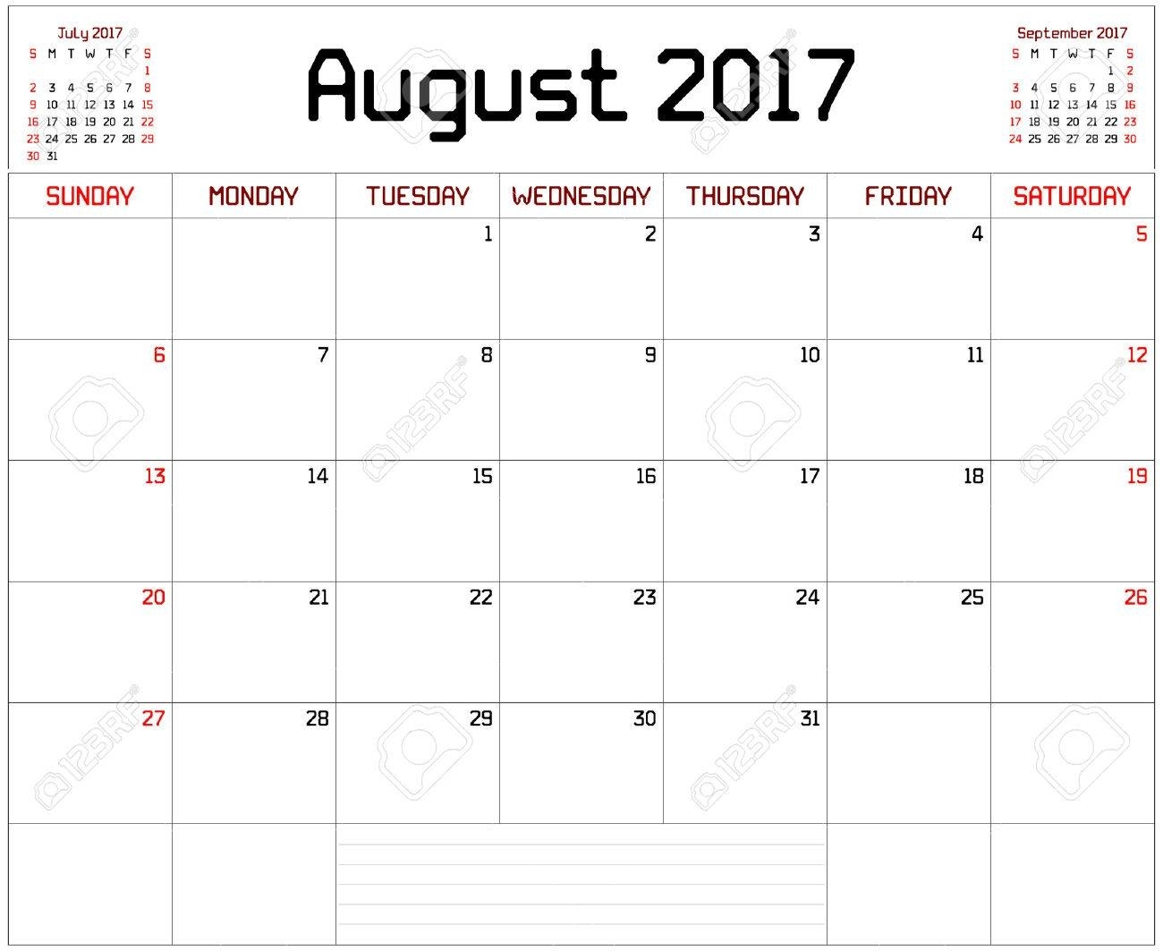 Year 2017 August Planner - A Monthly Planner Calendar For August intended for Month Of August Calendar With Lines