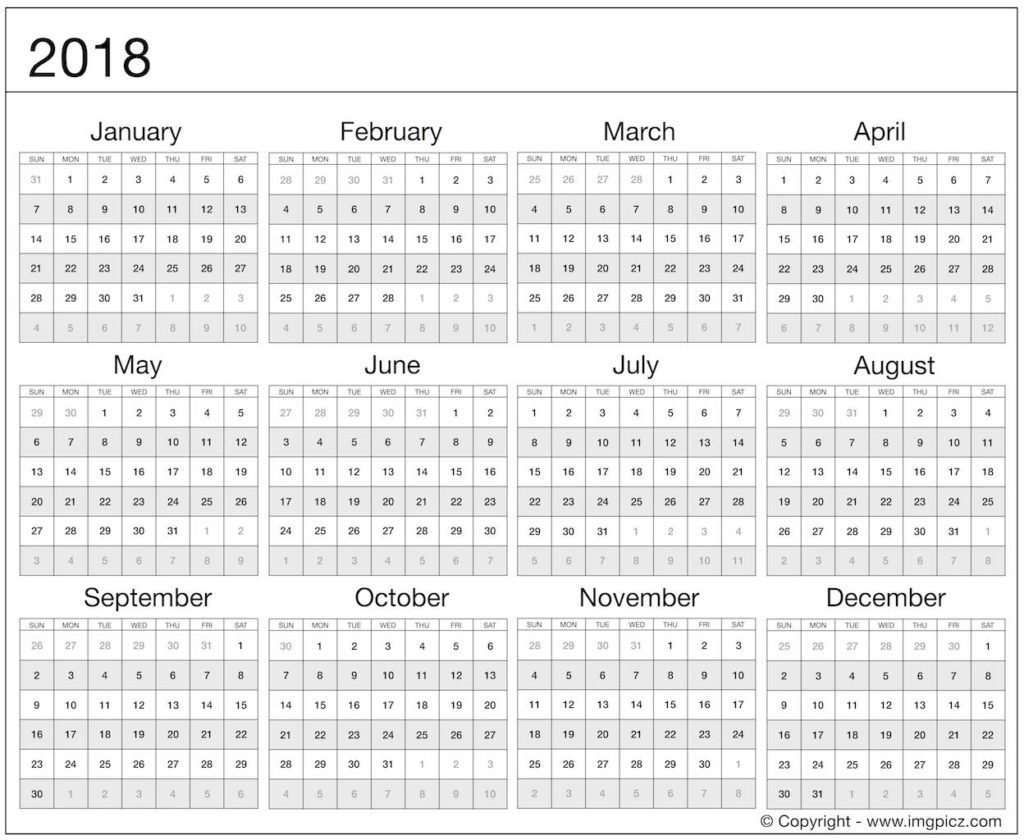 Year At A Glance 2018 Printable Template Calendar Design | Jazz Gear in Template For Year At A Glance Calendar