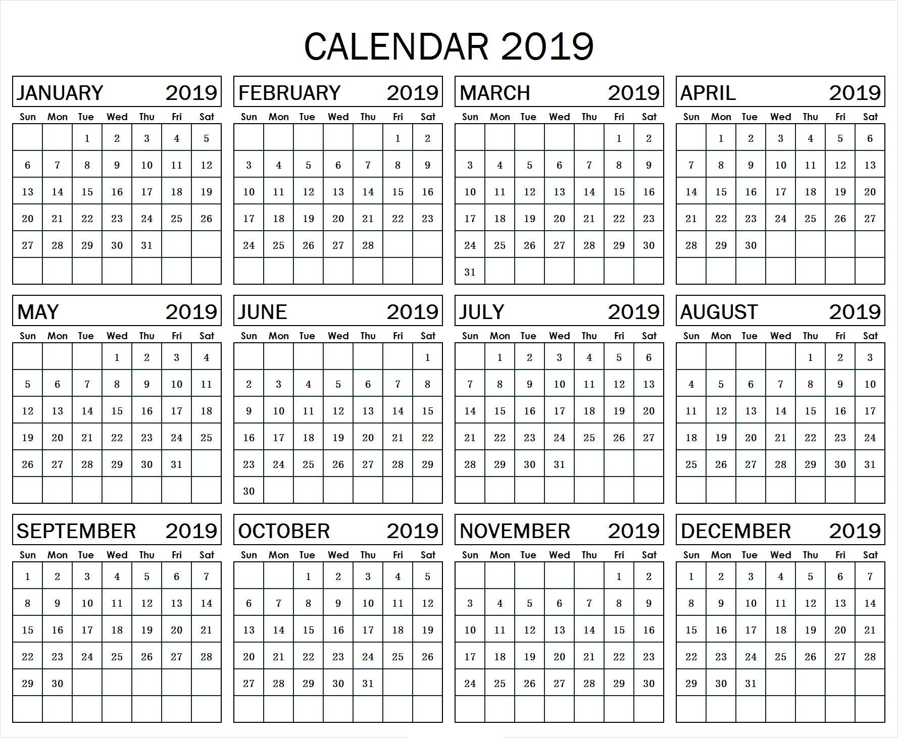 Year At A Glance Calendar Template 2019 – Free Calendar Templates intended for Year At A Glance Calendars Printable