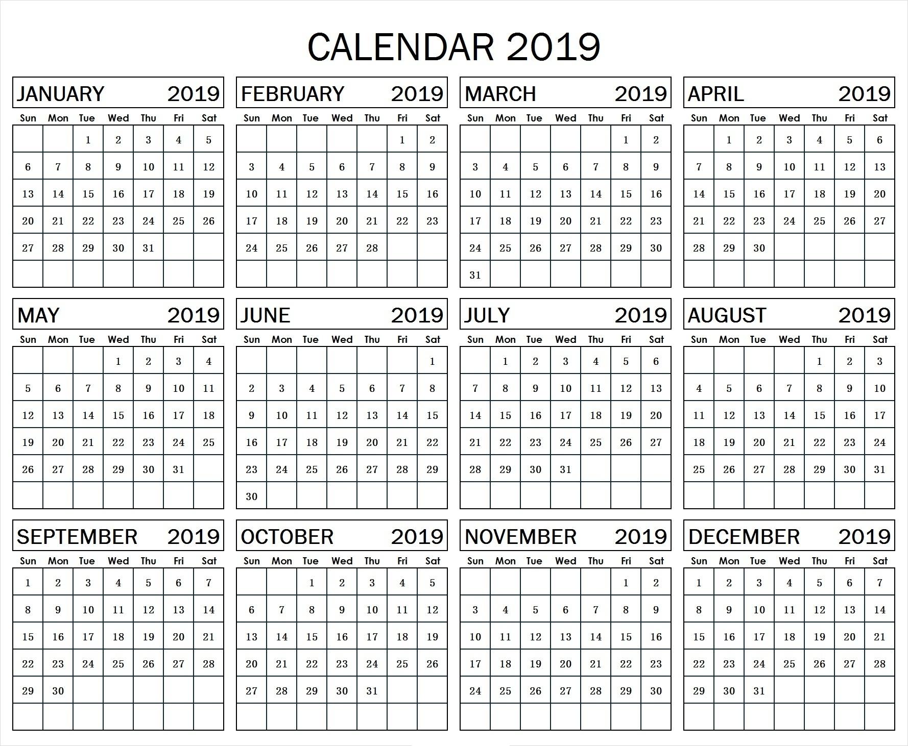 Year At A Glance Calendar Template 2019 – Free Calendar Templates throughout Template For Year At A Glance Calendar