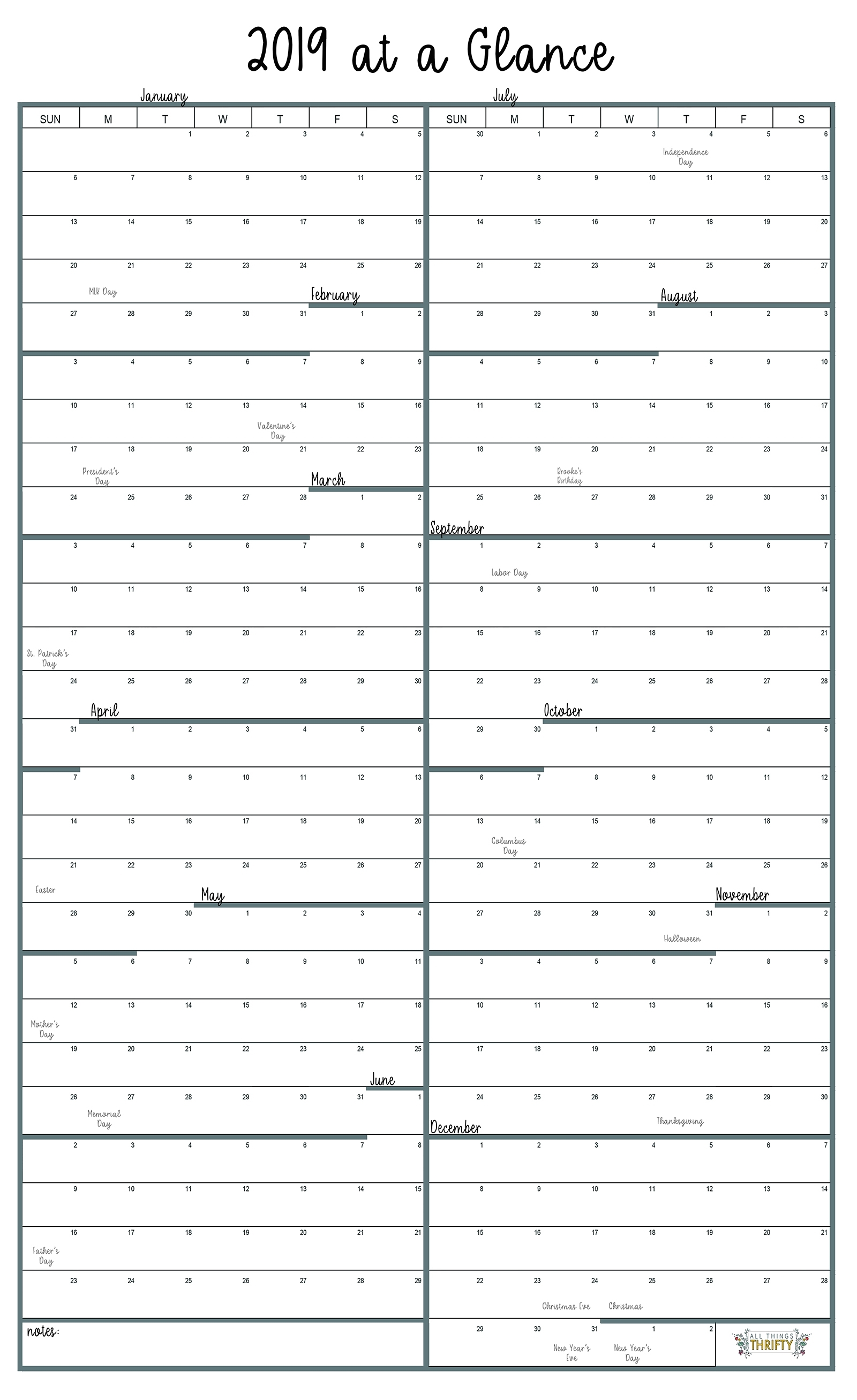 Year At A Glance Free Printable Calendar | All Things Thrifty within Year At A Glance Calendar Simple Design
