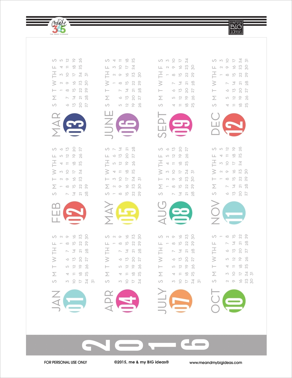 Year At A Glance' Free Printables For The Happy Planner™ — Me & My intended for Year At A Glance Free