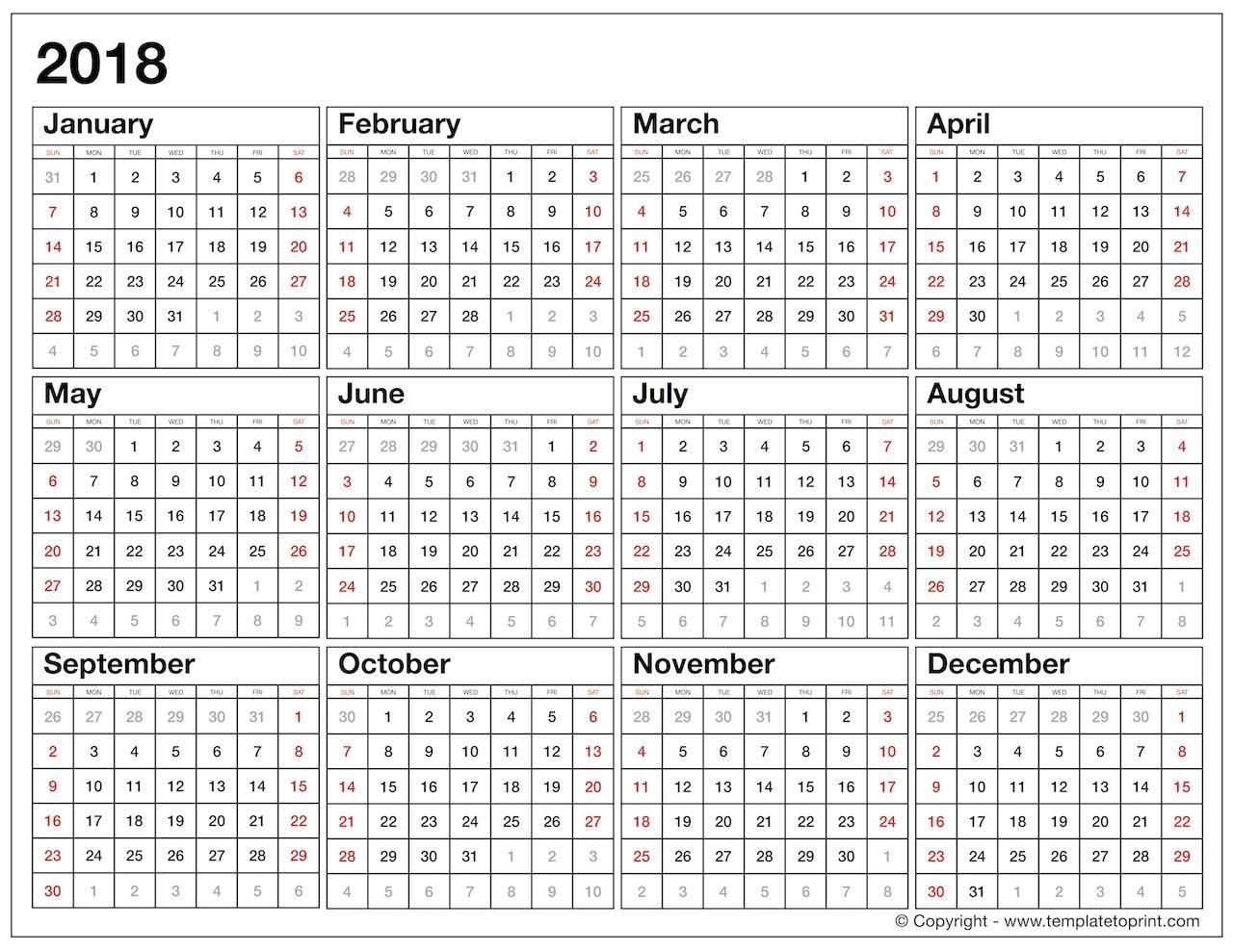 Year At A Glance Printable Calendar 2018 | Printable Calendar for Year At A Glance Calendar Template