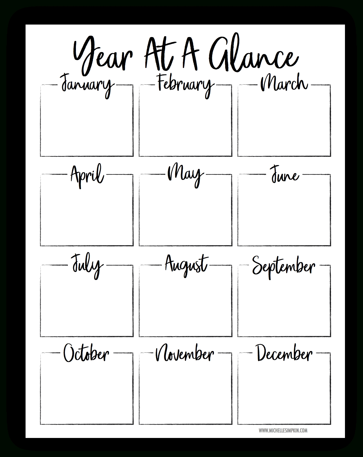 Year At A Glance Printable | Task Lists | Templates Printable Free within Year At A Glance Template