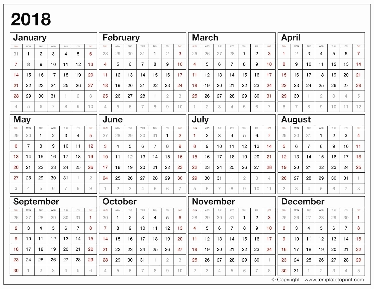 Year At A Glance Printable Template | Template Calendar Printable throughout Template For Year At A Glance Calendar
