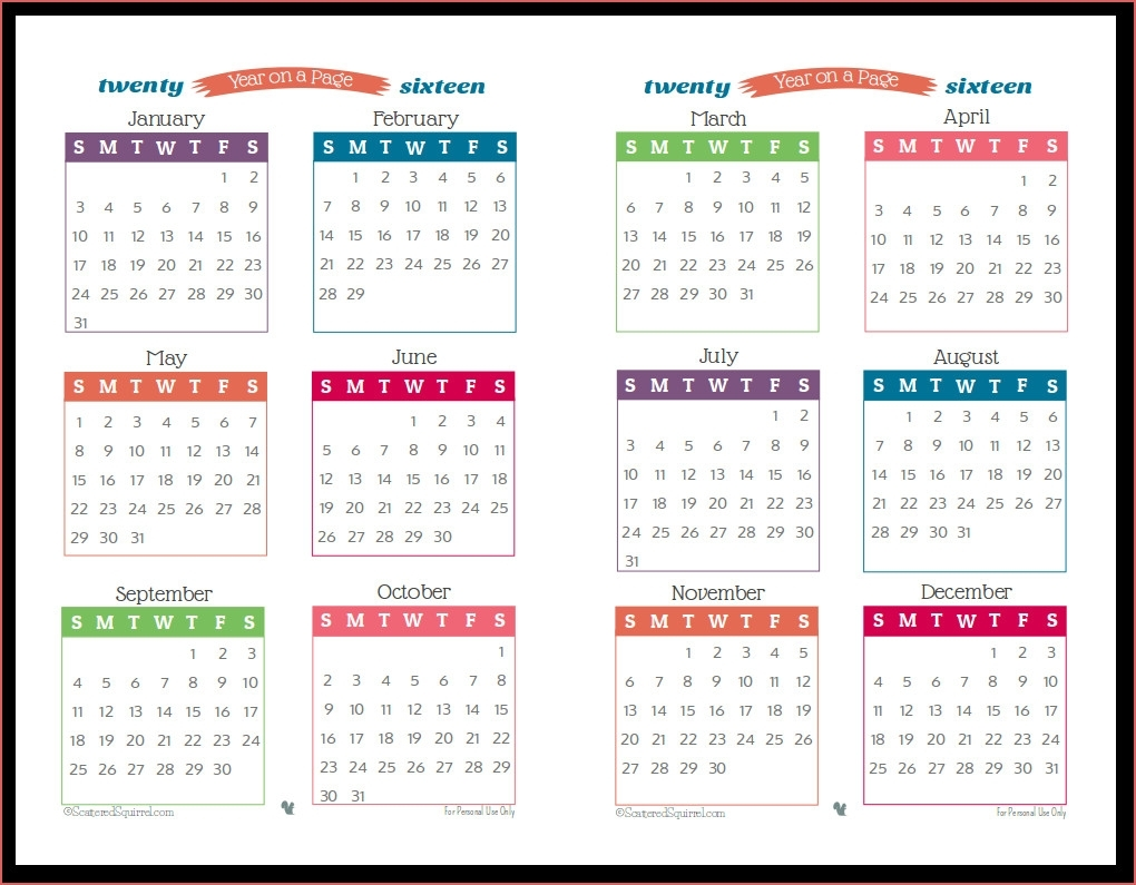 Year Long 1 Page Calendar 2017 Calendar Template 2019 2019 One Page within Free Printable Year Long Calendar