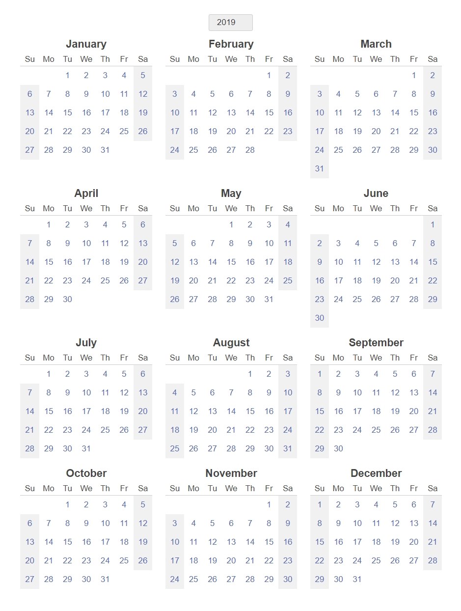 Yearly Blank Calendar 2019 Template – Printable 2018 Calendars in Free Printable 12 Month Blank Calendar