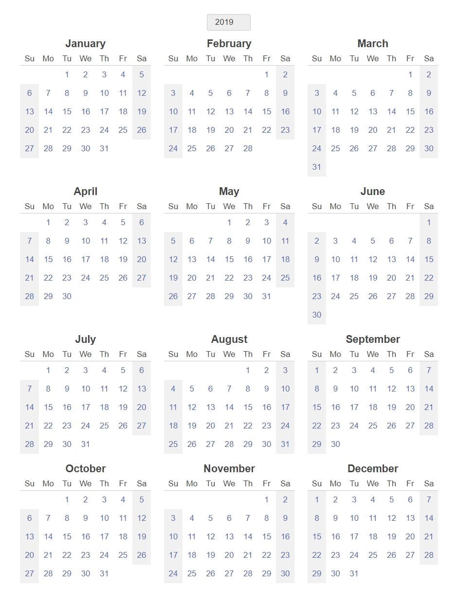 Yearly Blank Calendar 2019 Template – Printable 2018 Calendars with regard to 12 Month Blank Calendar Template