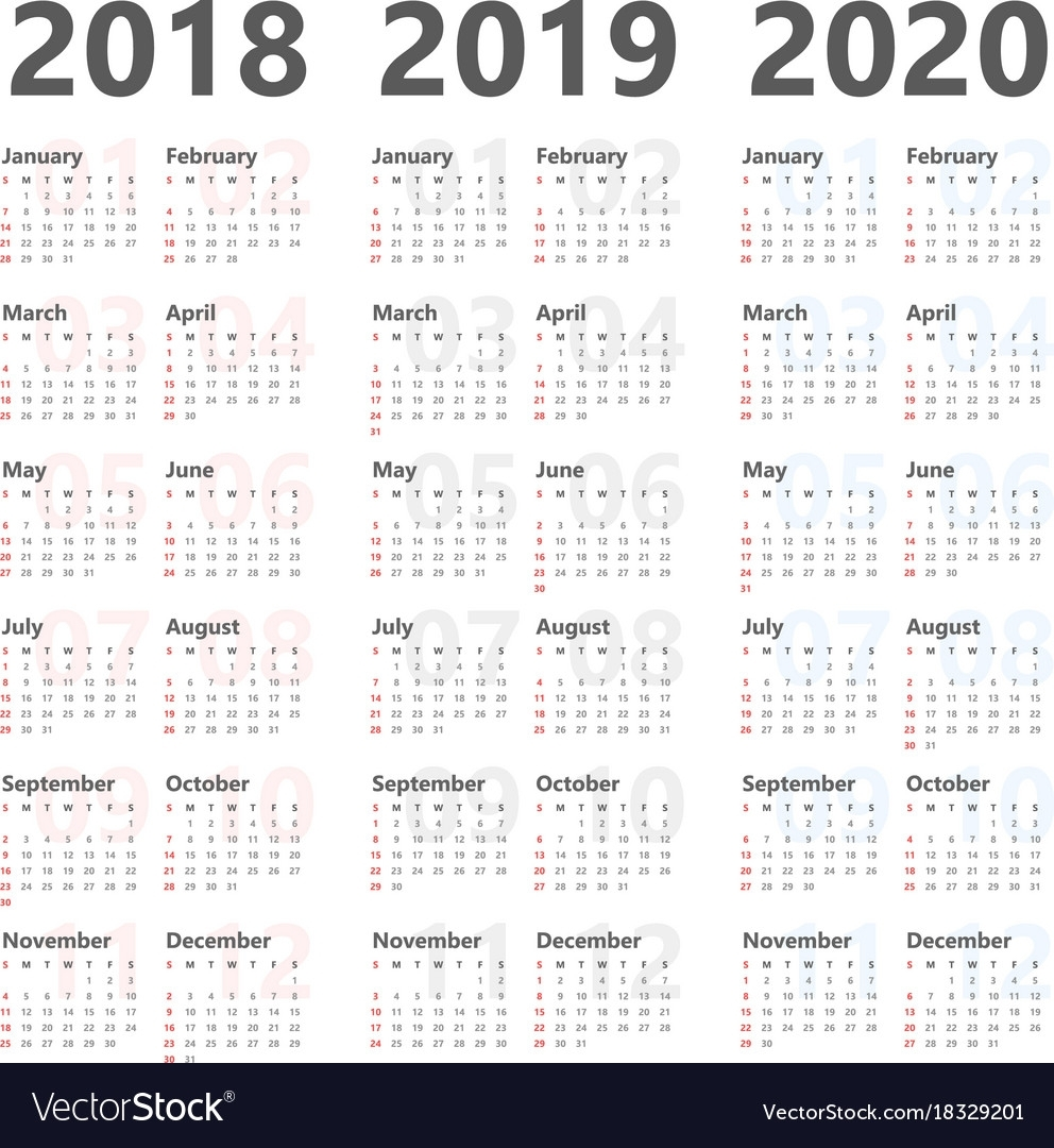 Yearly Calendar For Next 3 Years 2018 To 2020 Vector Image intended for Three Year Calendar Printable Free