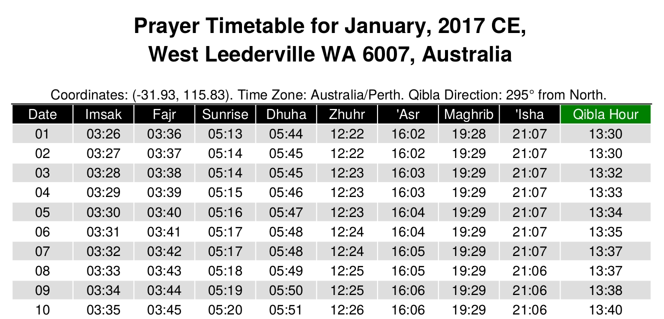 Yearly Muslim Prayer Times Generator - Alhabib Islamic Web Service in Urdu Calendar With Time Table